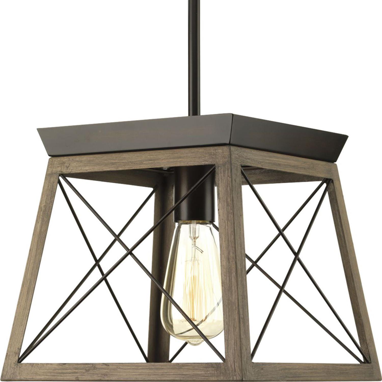 Delon 1 Light Lantern Geometric Pendants In Well Known Progress Lighting P500041 020: Briarwood Antique Bronze One (View 25 of 25)