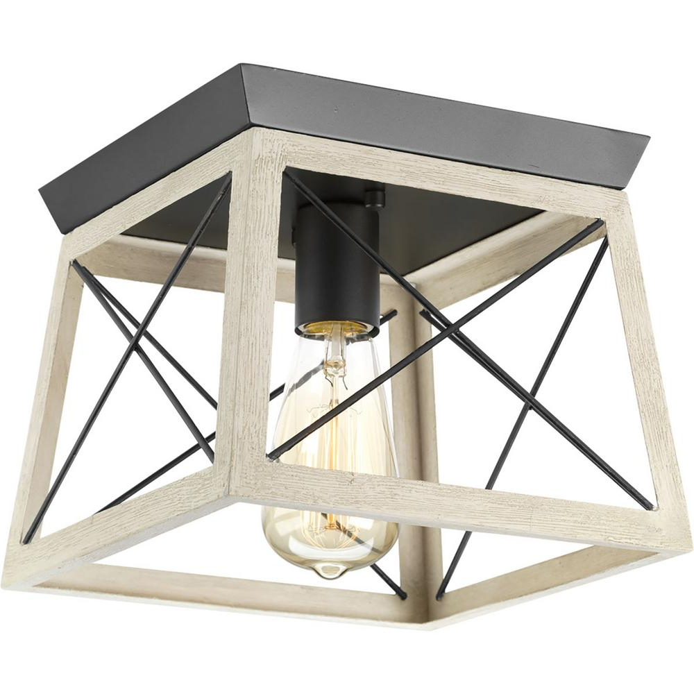Delon 1-Light Lantern Geometric Pendants in Widely used Progress Lighting Briarwood 9.5 In. 1-Light Graphite Flush Mount With  Faux-Painted Wood Accents