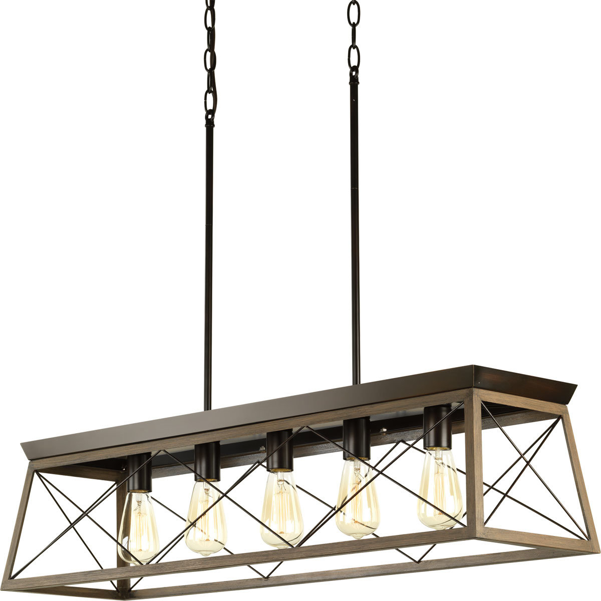 Delon 5-Light Kitchen Island Linear Pendant intended for Famous Delon 1-Light Lantern Geometric Pendants