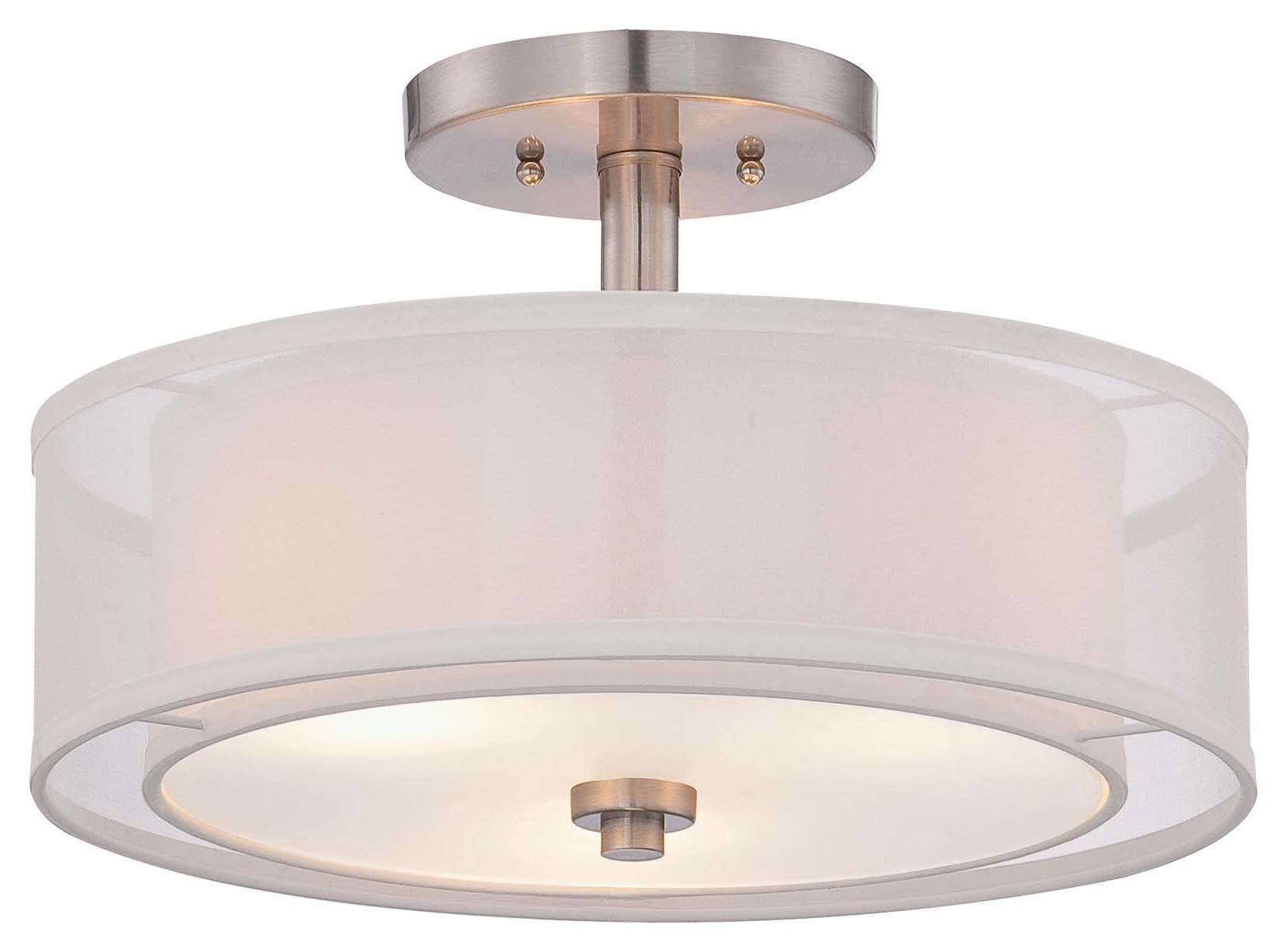 Demby 3 Light Semi Flush Mount Inside 2020 Radtke 3 Light Single Drum Pendants (Gallery 18 of 25)