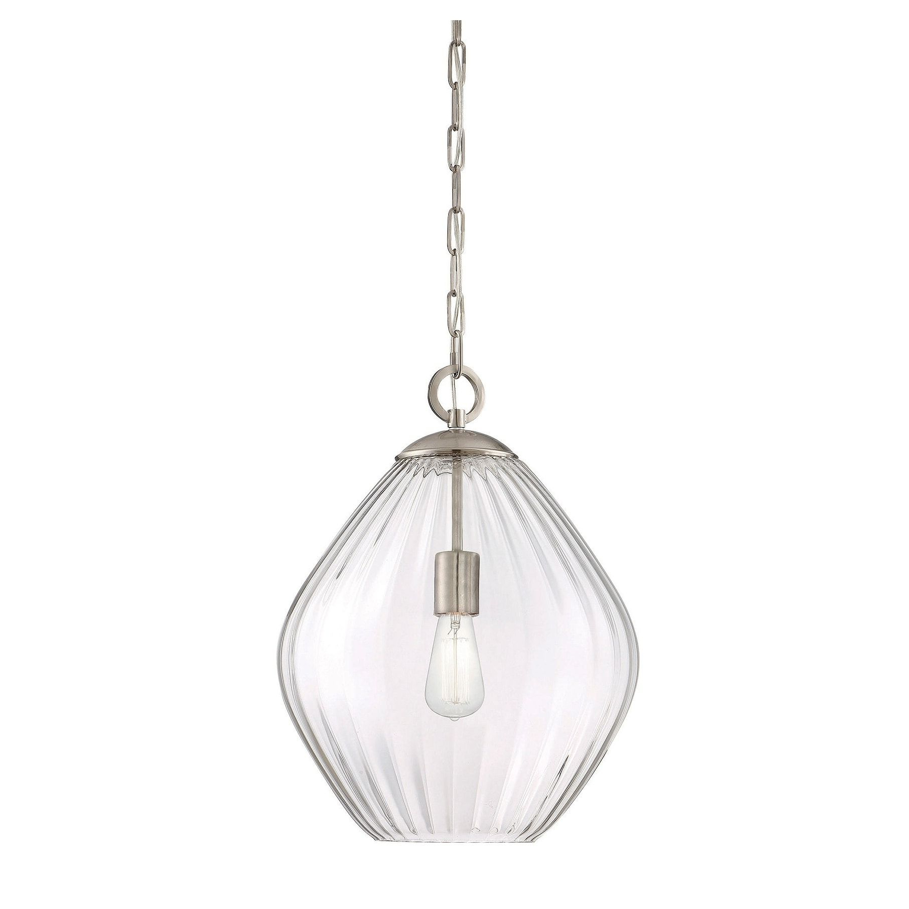 Demi 1-Light Globe Pendants with regard to Latest Savoy House Satin Nickel Carnegie 1-Light Pendant (Metal