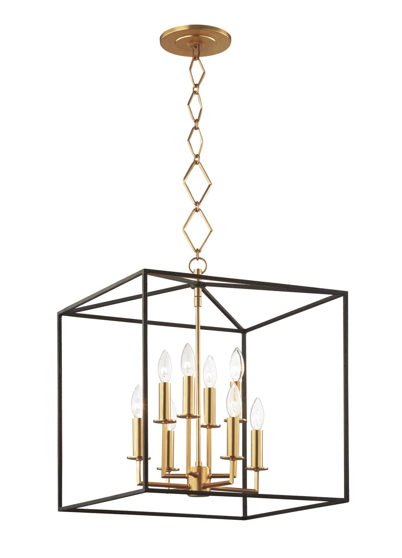 Destrey 3-Light Lantern Square/rectangle Pendants inside 2020 Richie 8 Light Pendant - Agb/bk - Industrial Pendants