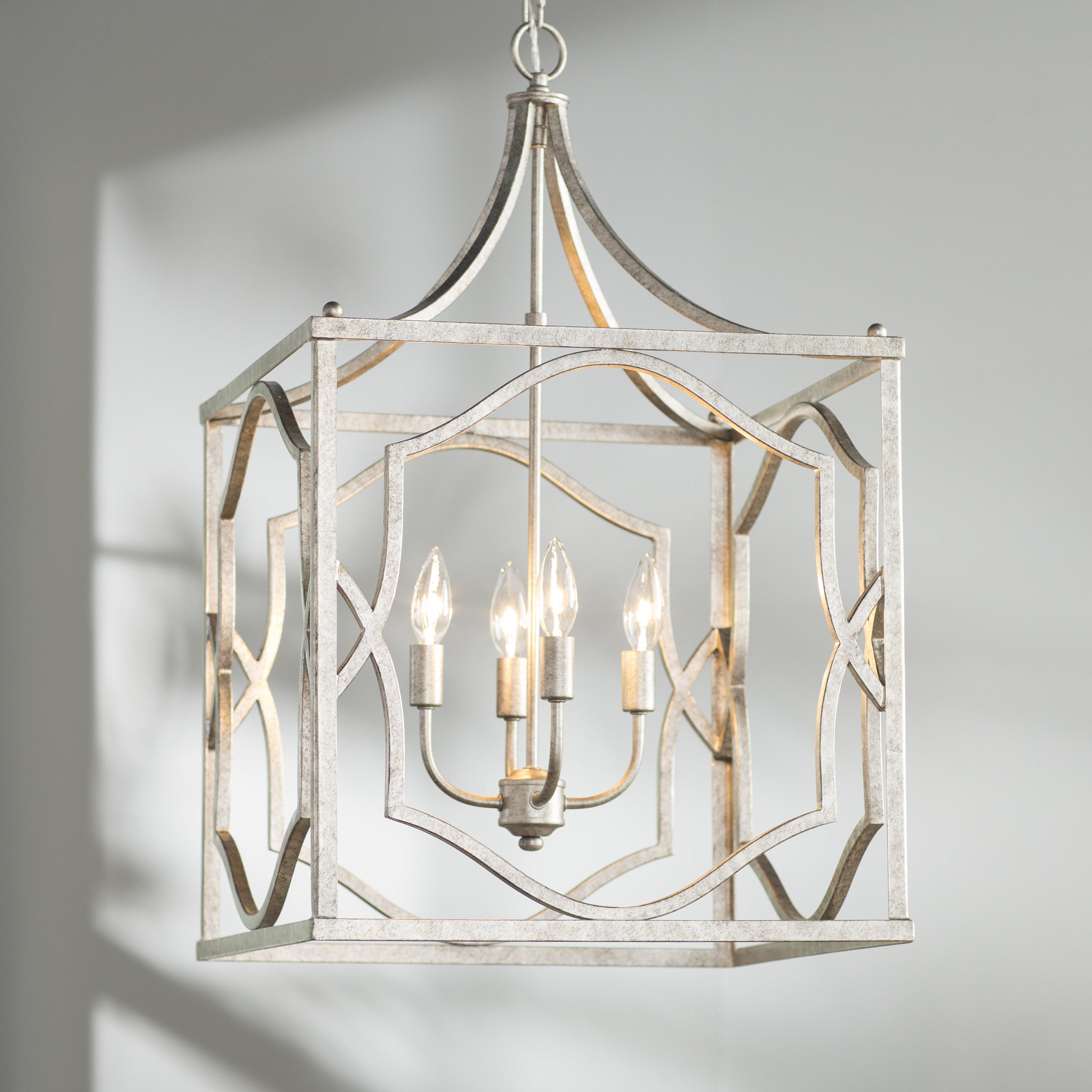 Destrey 3-Light Lantern Square/rectangle Pendants throughout Latest Destrey 4-Light Lantern Square / Rectangle Pendant