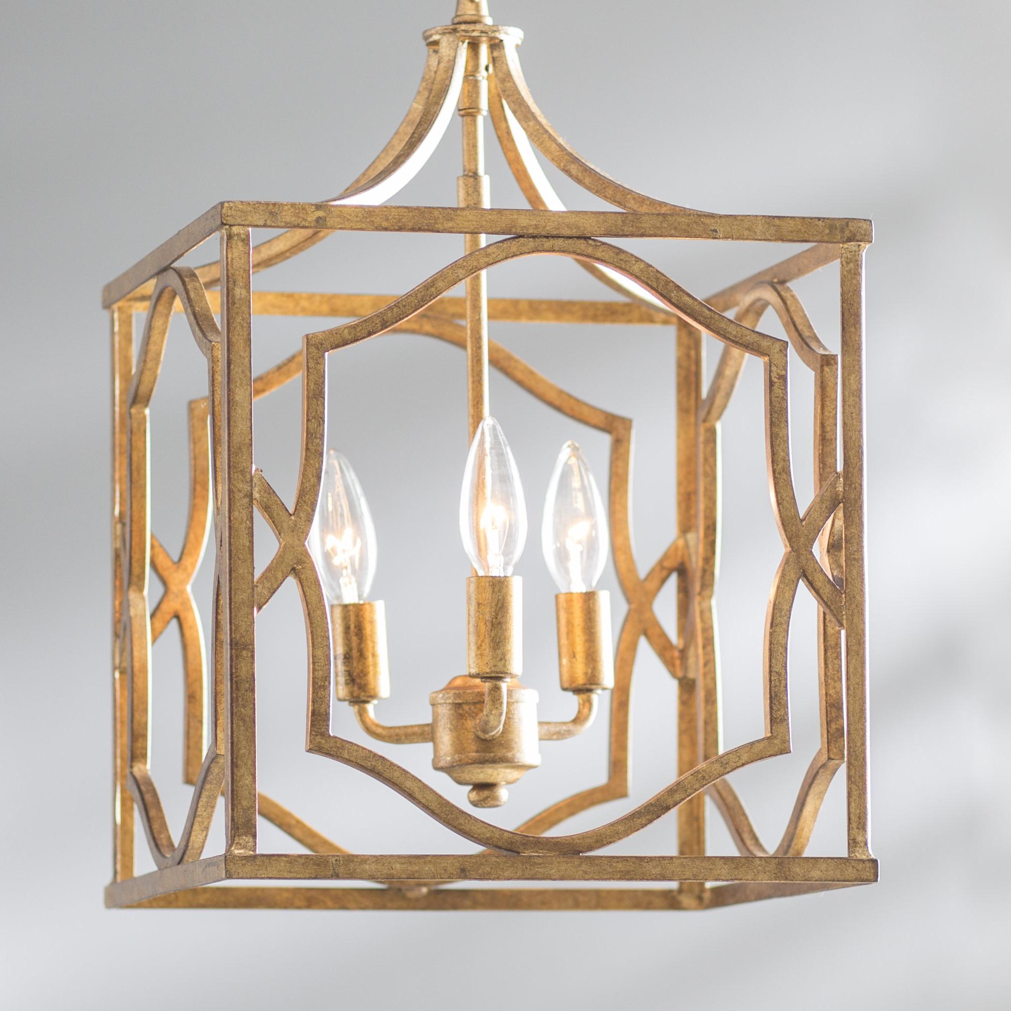 Destrey 3 Light Lantern Square/rectangle Pendants Within Most Recent Destrey 3 Light Lantern Square/rectangle Pendant (Gallery 6 of 25)