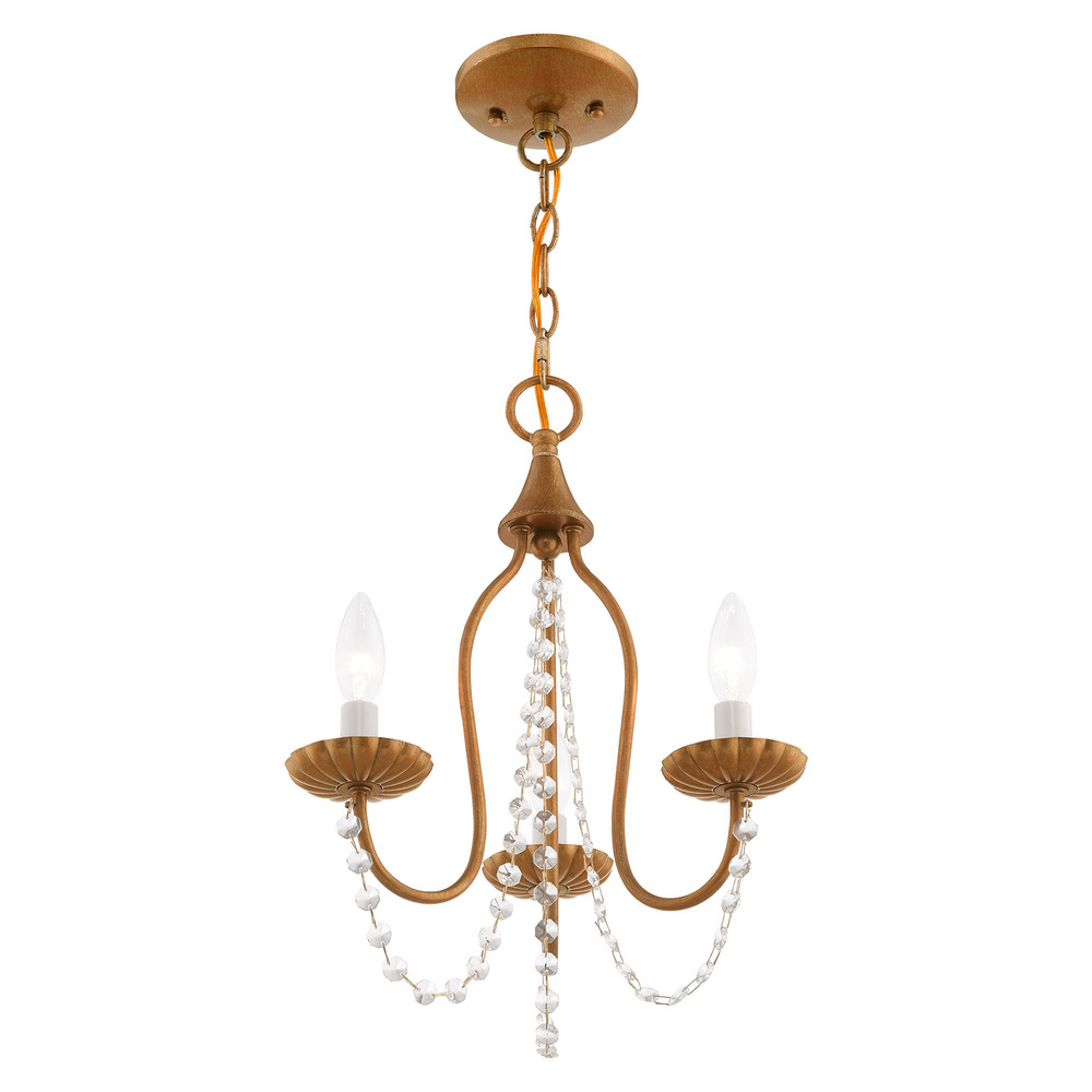 Details About Livex Lighting 40793-48 3 Lt Antique Gold Leaf Mini Chandelier throughout Famous Whitten 4-Light Crystal Chandeliers