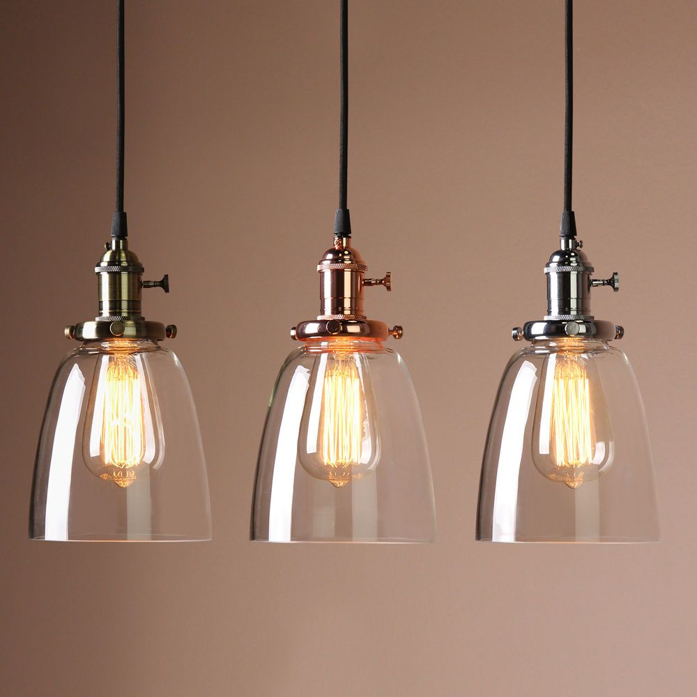 Details About Vintage Industrial Ceiling Lamp Cafe Glass with Widely used Vernice 3-Light Cluster Bell Pendants