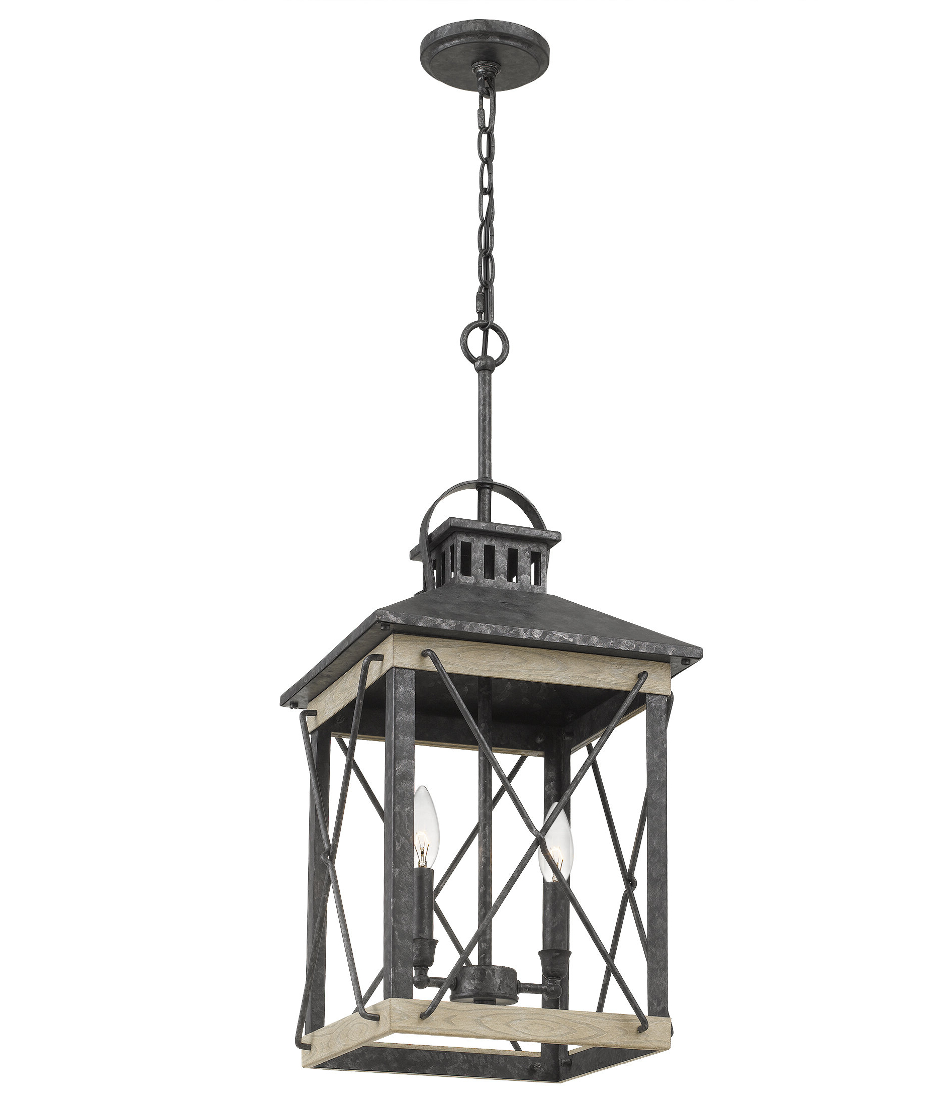 Detroit 2-Light Lantern Rectangle Pendant pertaining to Recent Delon 1-Light Lantern Geometric Pendants