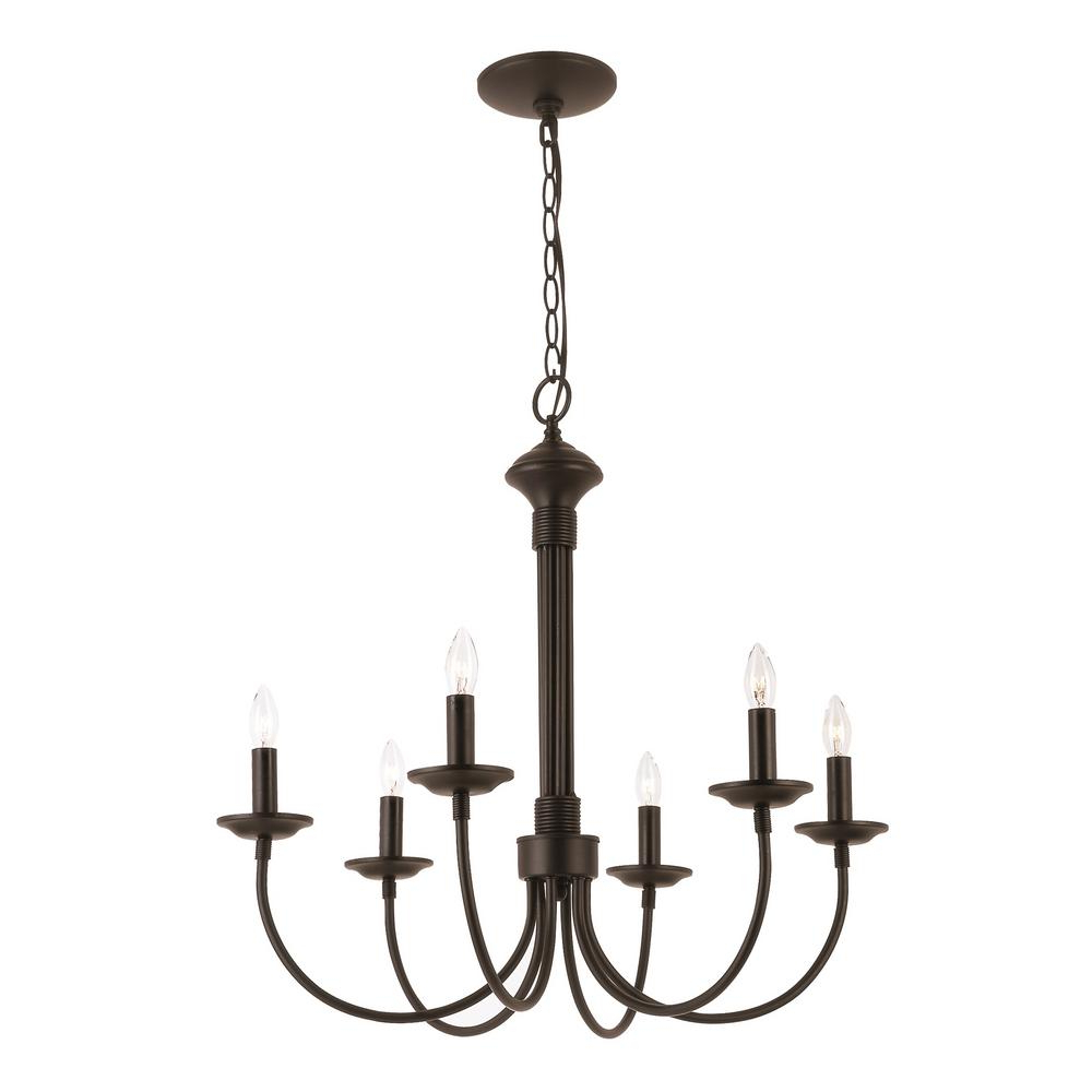 Diaz 6 Light Candle Style Chandeliers Pertaining To Favorite Bel Air Lighting Candle 6 Light Black Chandelier In  (View 18 of 25)