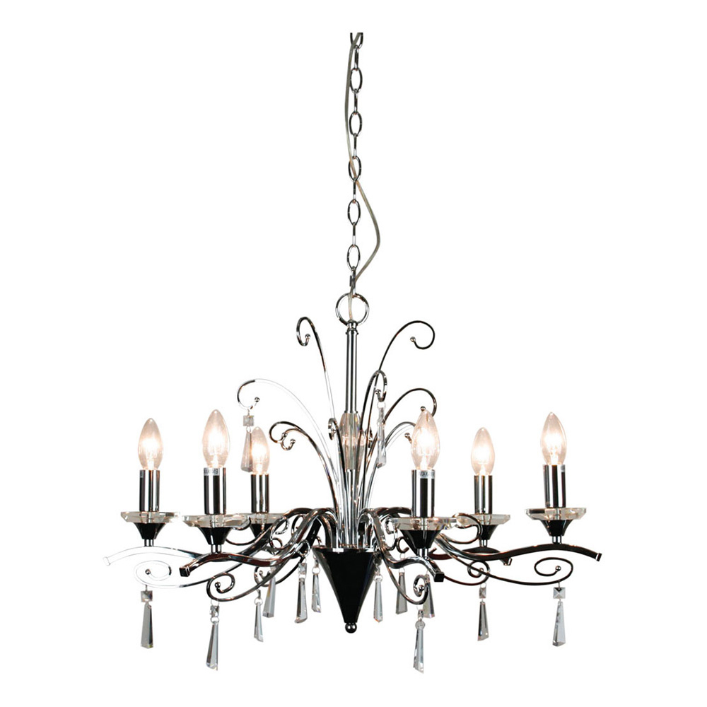 Diaz 6 Light Crystal Pendant Chrome - Ol68999/6Ch pertaining to Most Up-to-Date Diaz 6-Light Candle Style Chandeliers