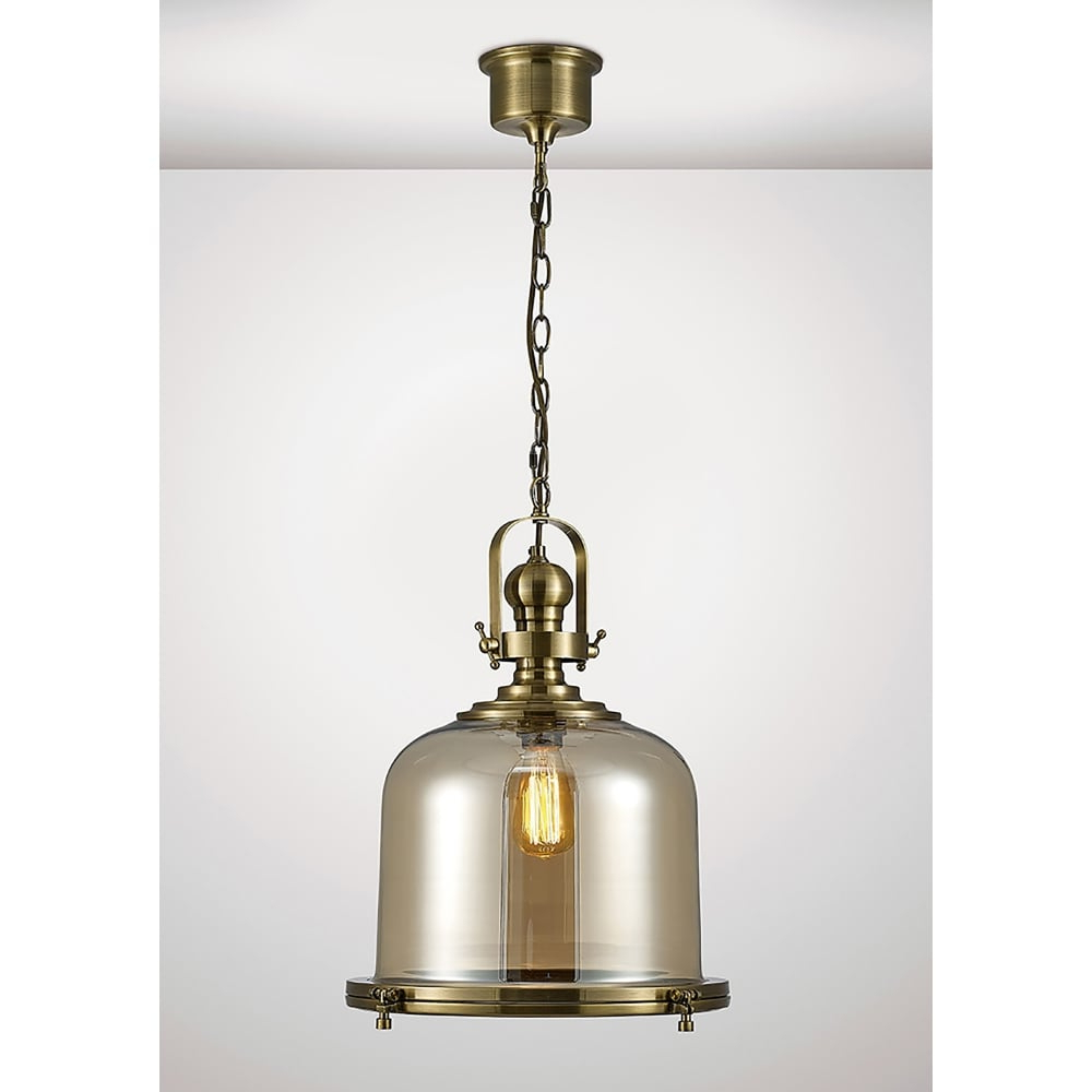Diyas Riley Single Light Large Ceiling Pendant In Antique Brass And Bell  Shaped Glass Shade Intended For Widely Used Terry 1 Light Single Bell Pendants (Gallery 8 of 25)