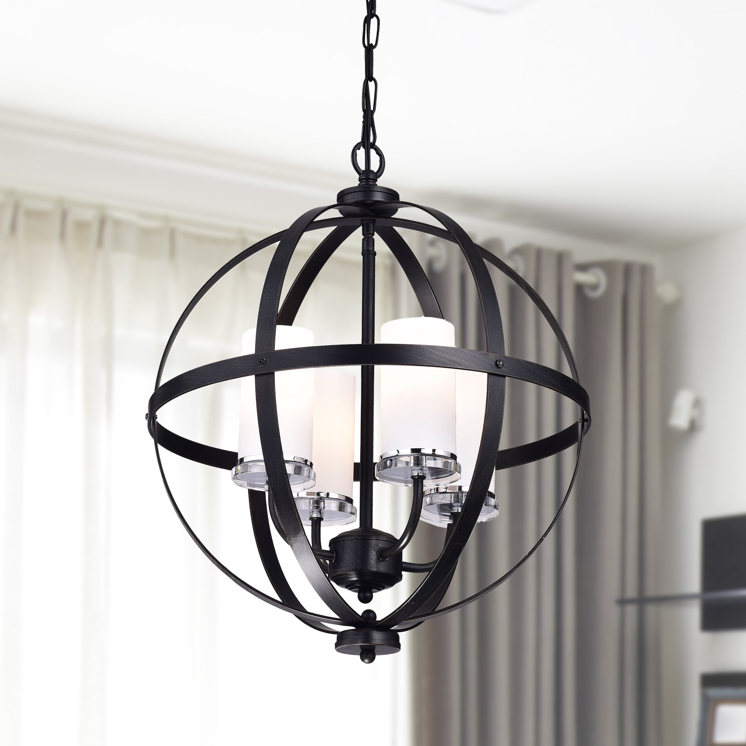 Donna 4 Light Globe Chandeliers With Regard To Favorite Benita Antique Black Iron Orb Chandelier With Glass Globe (View 15 of 25)