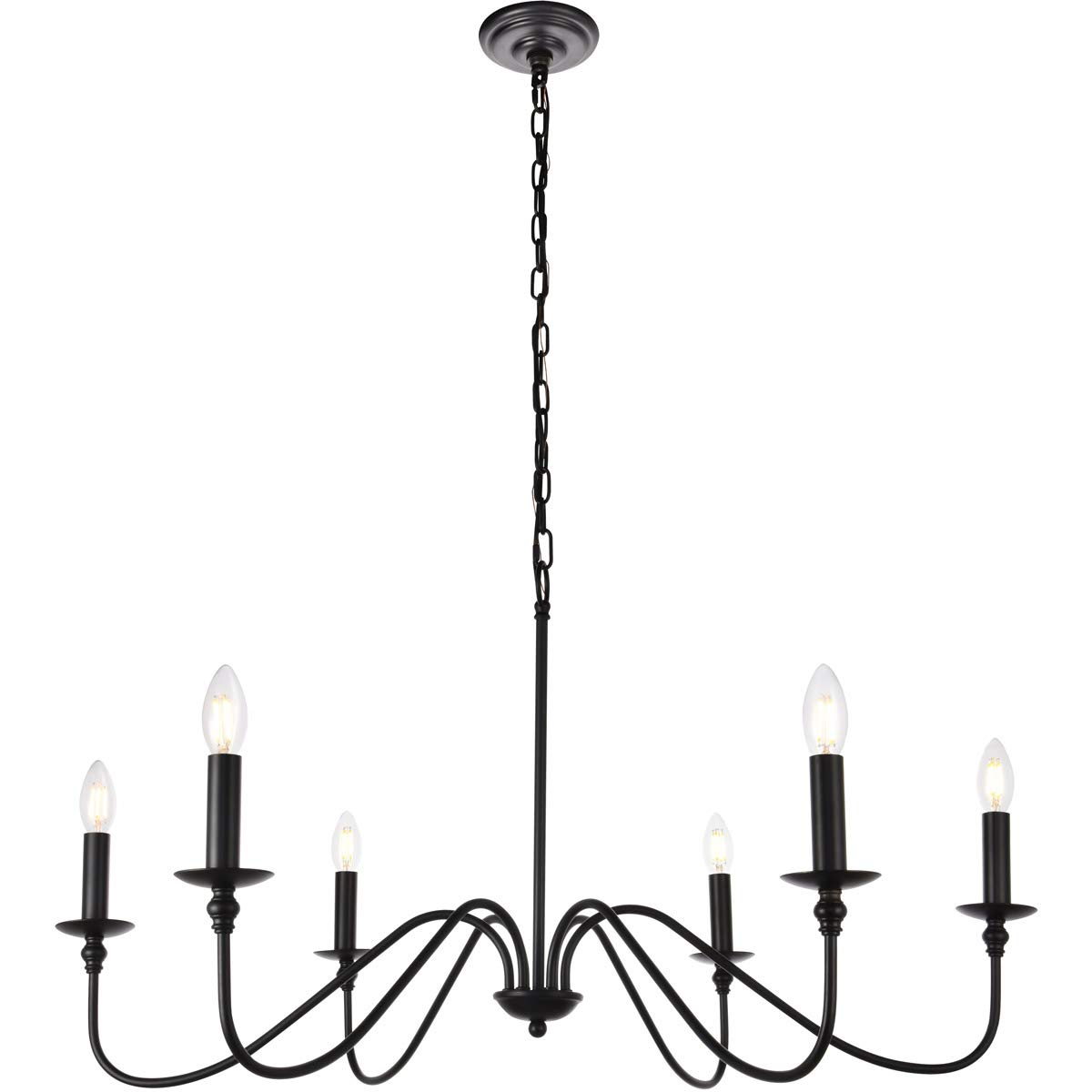 Donna 6 Light Globe Chandeliers Inside Most Up To Date 6 Light Chandelier In Matte Black (View 7 of 25)