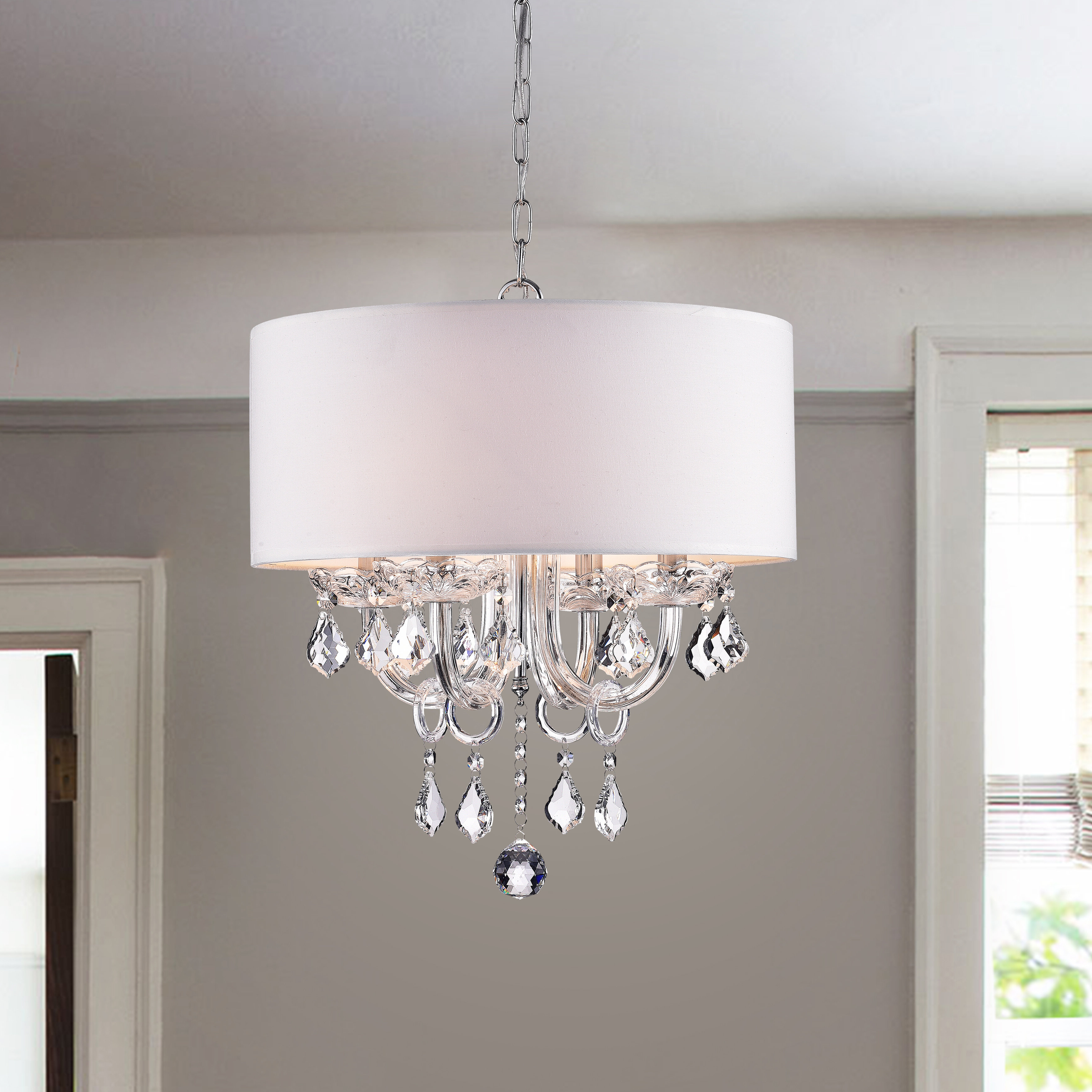 Dunaghy 4 Light Chandelier Regarding 2019 Gisselle 4 Light Drum Chandeliers (Gallery 17 of 25)