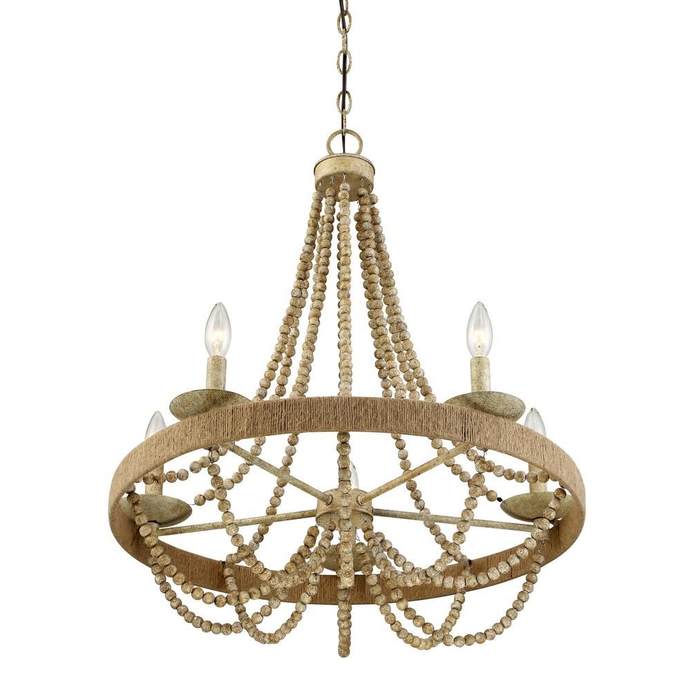 Duron 5 Light Empire Chandeliers Inside Well Known Filament Design 5 Light Natural Wood With Rope Chandelier (Gallery 11 of 25)