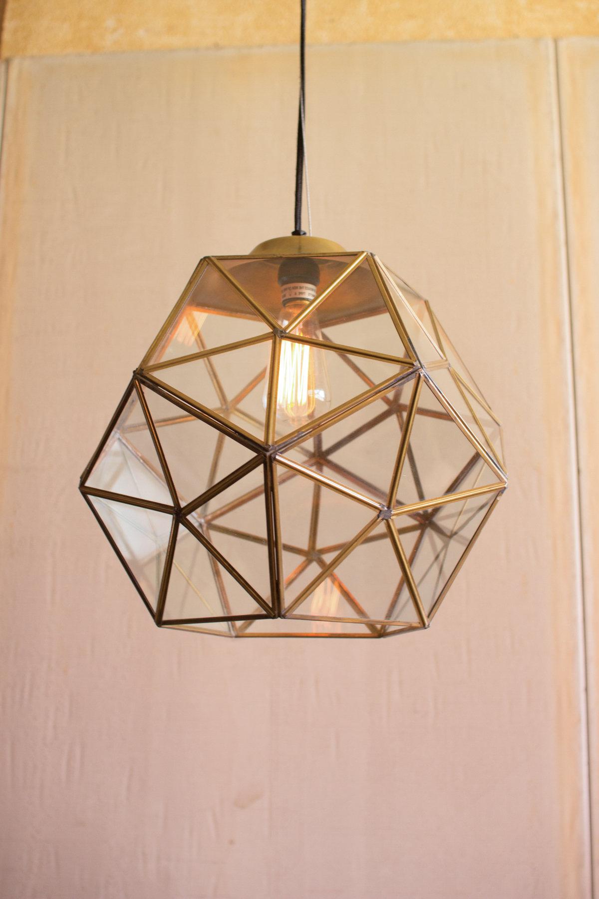 Edelman Glass 1 Light Lantern Pendant Pertaining To Most Up To Date Delon 1 Light Lantern Geometric Pendants (View 13 of 25)