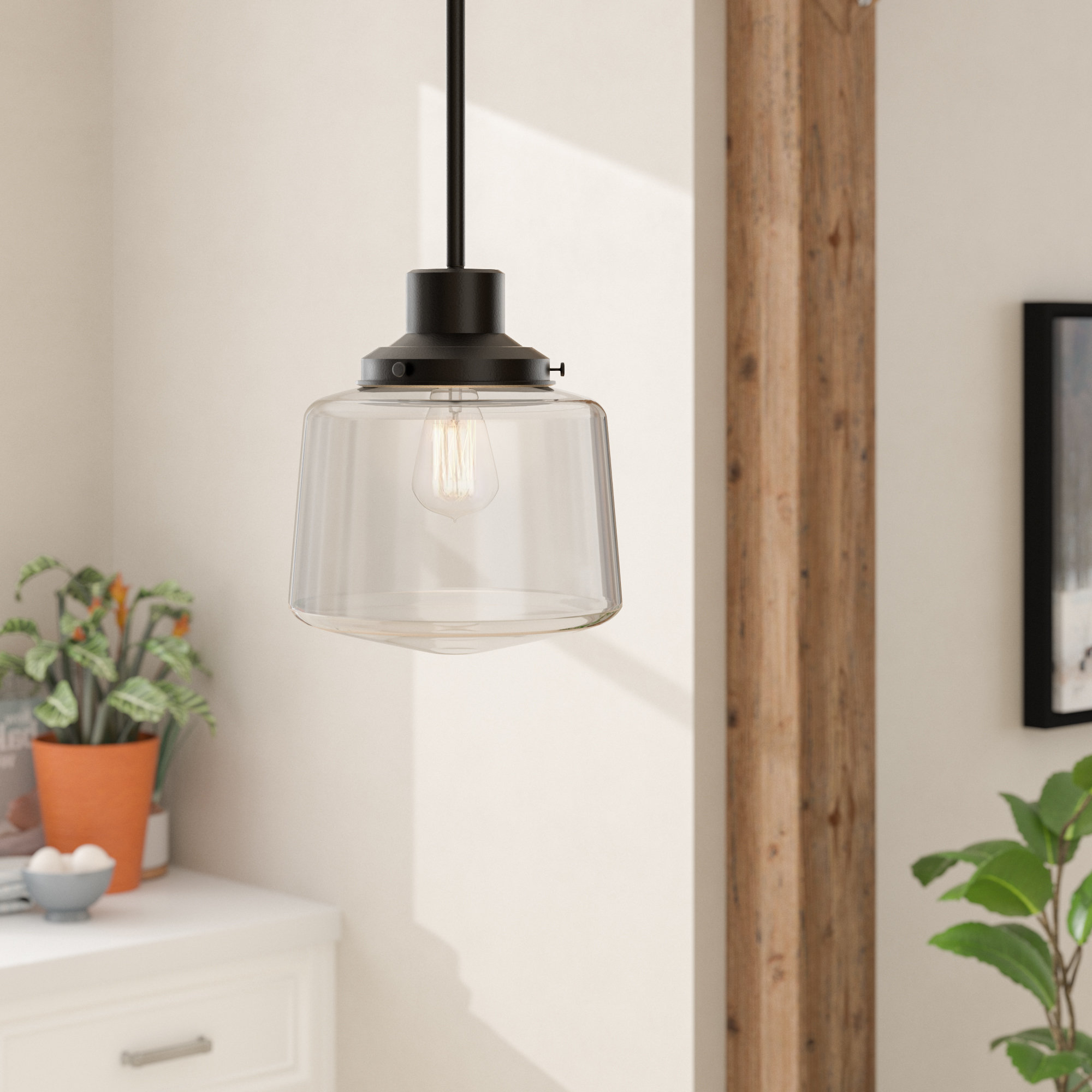 Edmundo 1-Light Unique / Statement Geometric Pendants with regard to Best and Newest Andover Mills Aaru 1-Light Schoolhouse Pendant