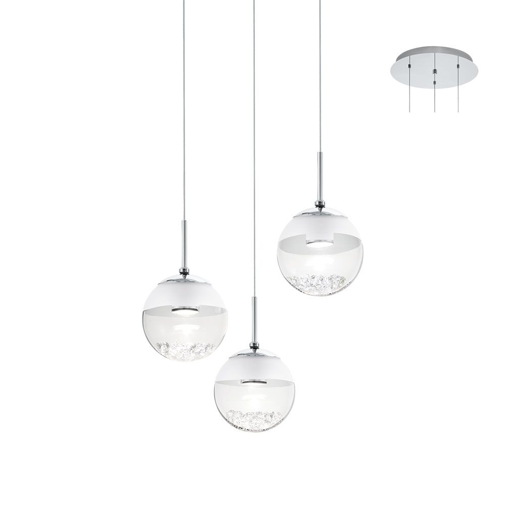 Eglo 93709 Montefio 1 Three Crystal Globe Ceiling Pendant Chrome & Glass For Most Up To Date 1 Light Globe Pendants (Gallery 21 of 25)