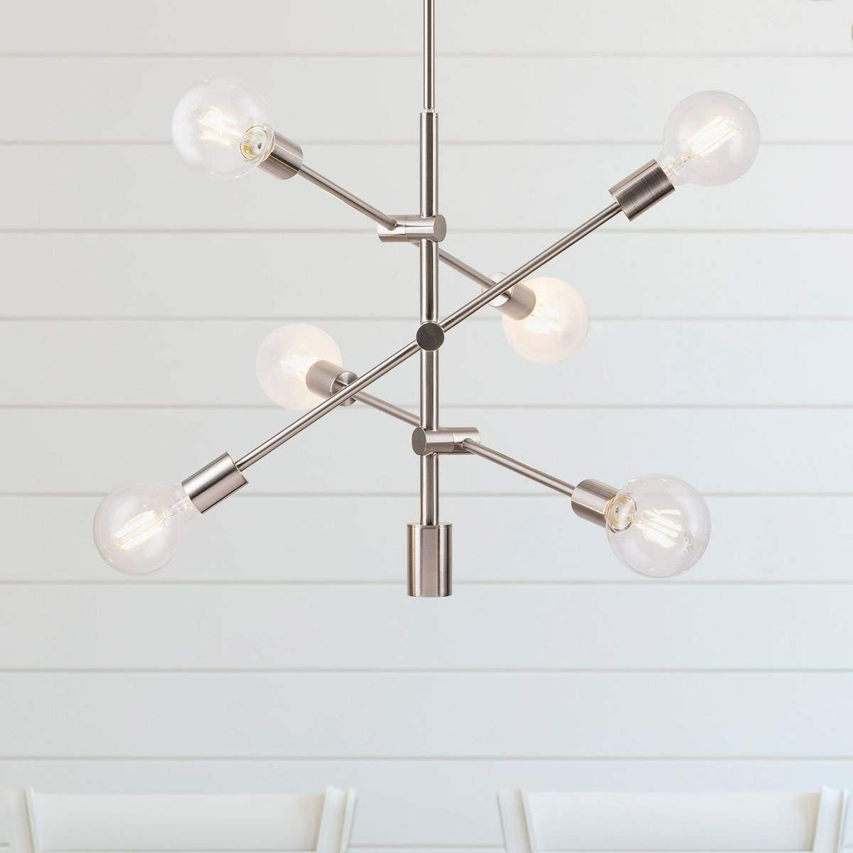 Eladia 6-Light Sputnik Chandeliers with Famous Marabella Led Sputnik Chandelier Light Fixture, Brushed