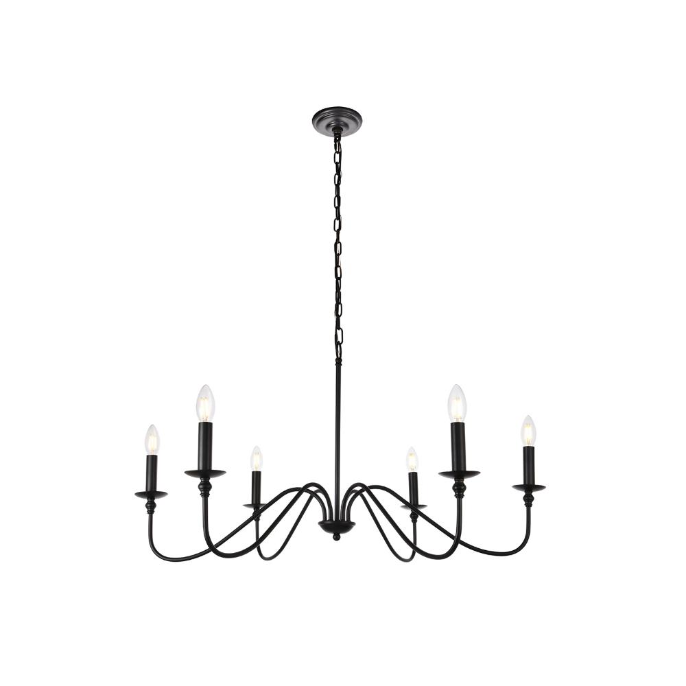 Elegant Lighting Rohan Matte Black Six Light Chandelier Pertaining To Latest Ladonna 5 Light Novelty Chandeliers (Gallery 23 of 25)