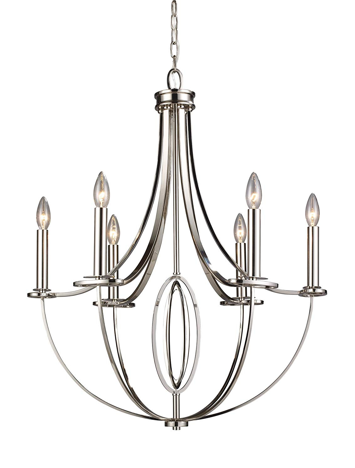 Elk 10121/6 Dione 6 Light Chandelier In Polished Nickel Intended For Widely Used Hayden 5 Light Shaded Chandeliers (Gallery 16 of 25)