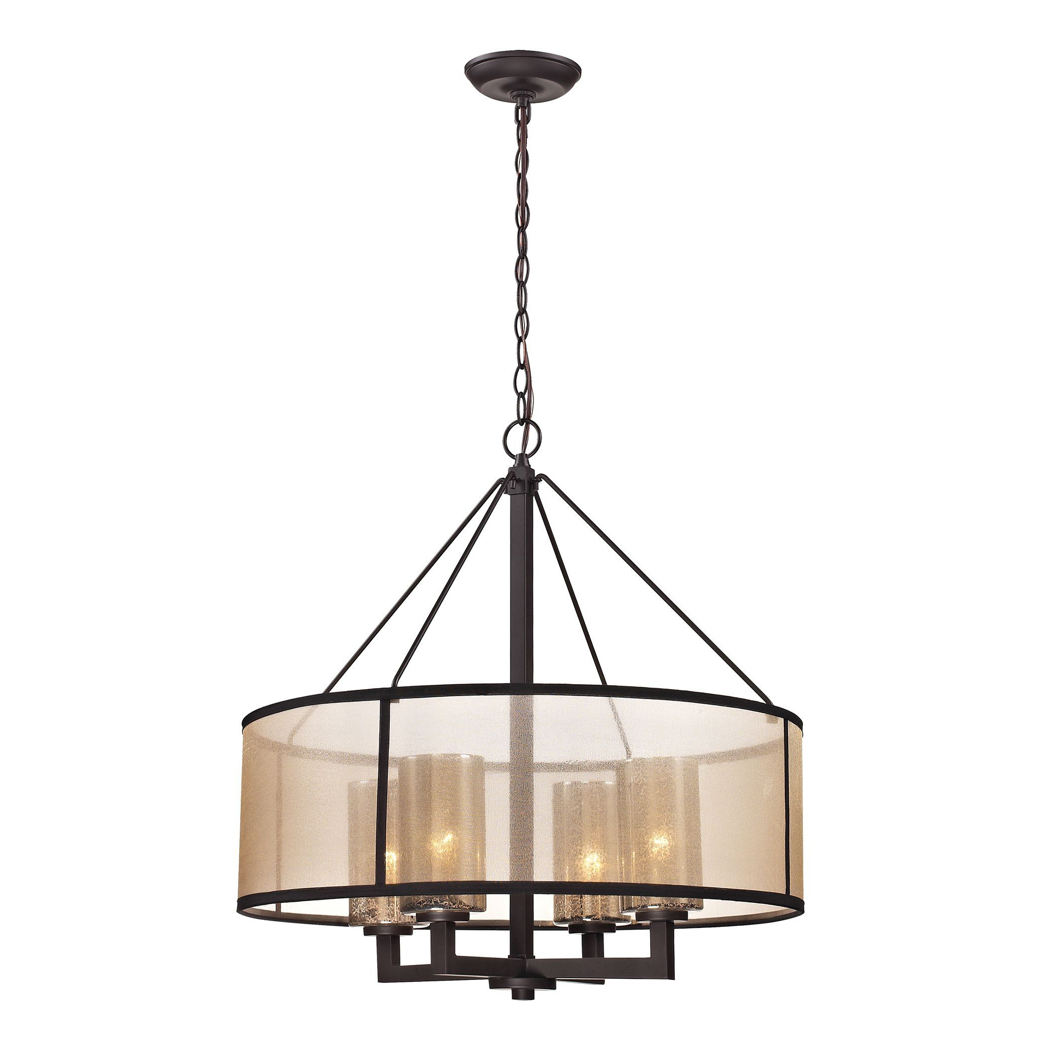 Elk Lighting 'diffusion' 4 Light Oil Rubbed Bronze Inside Well Known Harlan 5 Light Drum Chandeliers (Gallery 22 of 25)