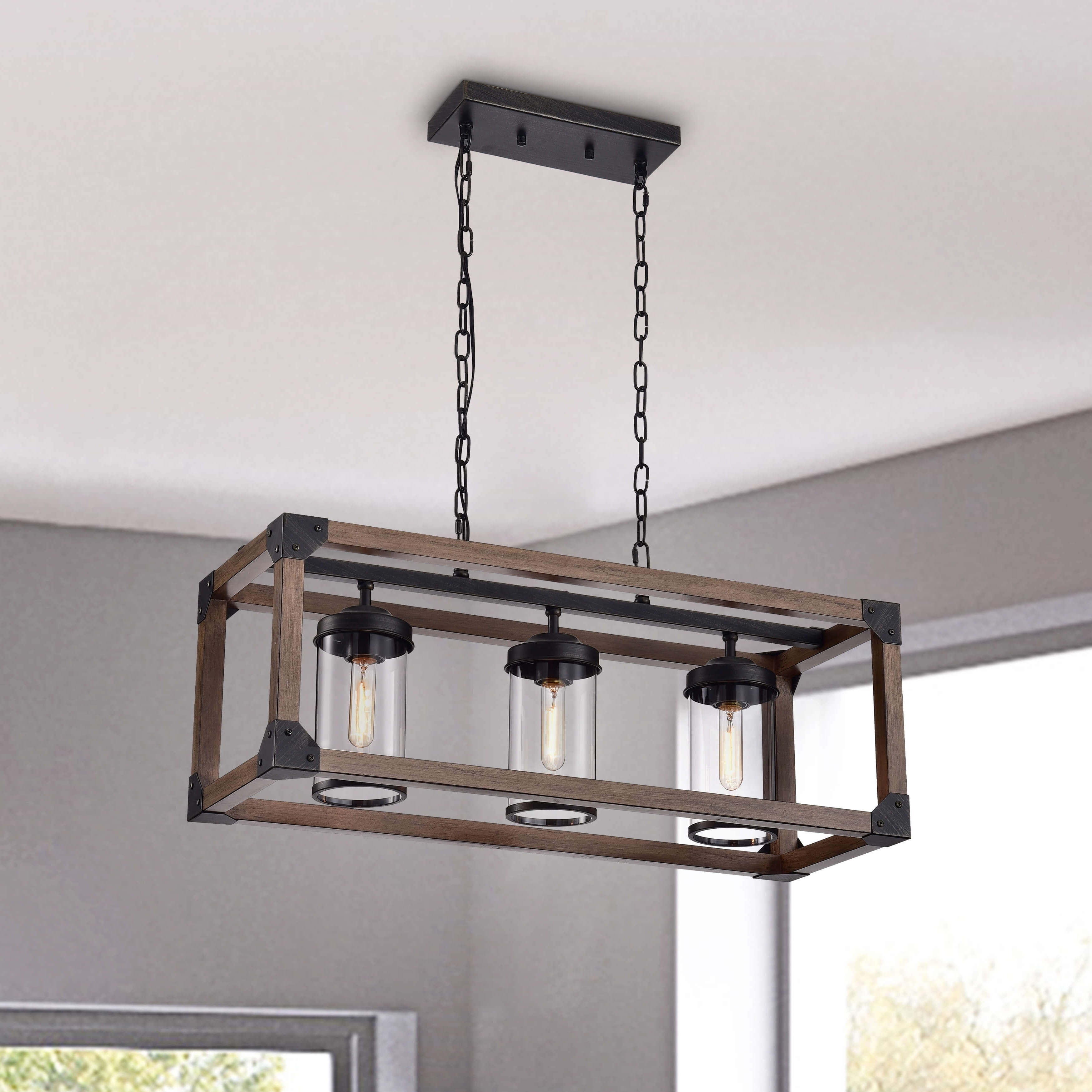 Ellenton 4-Light Rectangle Chandeliers for Well known Daniela 3-Light Antique Black Metal And Natural Wood Glass
