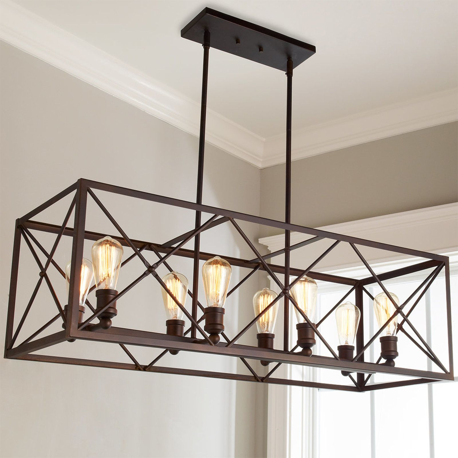 Ellenton 4 Light Rectangle Chandeliers With Well Known Industrial Cross Framed Box Island Chandelier (Gallery 10 of 25)