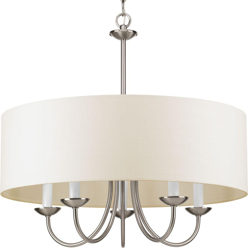 Emaria 3-Light Single Drum Pendants in Newest Progress Lighting 21.625 In. 5-Light Brushed Nickel Chandelier With Beige Linen Shade