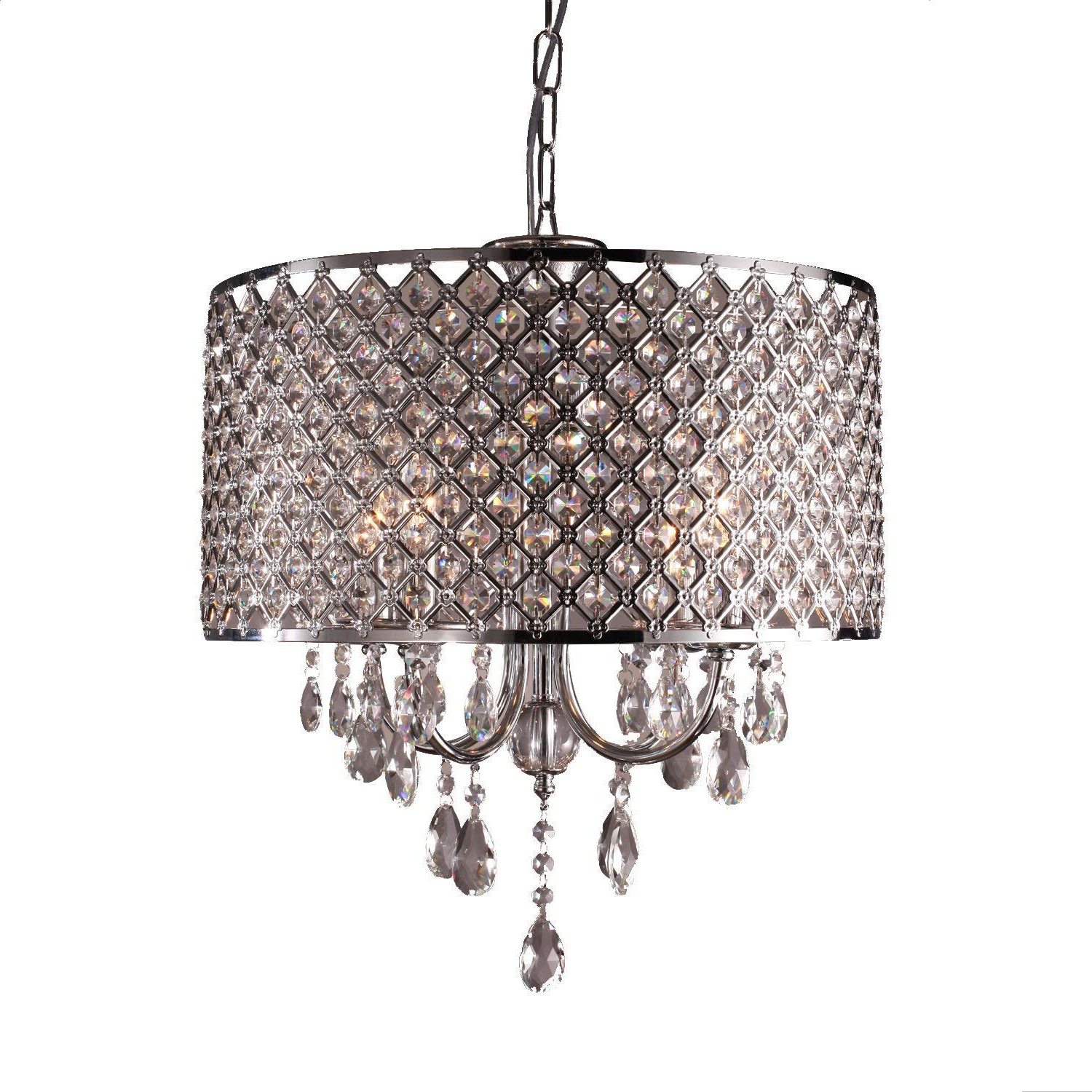 Emaria 3-Light Single Drum Pendants intended for Favorite Lightinthebox Drum Chandelier Crystal Modern 4 Lights, Modern Home Ceiling  Light Fixture Flush Mount, Pendant Light Chandeliers Lighting