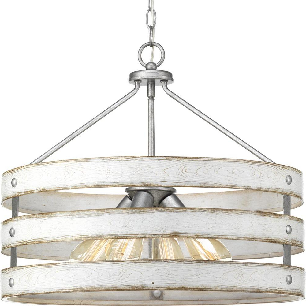 Emaria 3 Light Single Drum Pendants Throughout Famous Progress Lighting Gulliver 4 Light Galvanized Drum Pendant With Weathered  White Wood Accents (View 4 of 25)