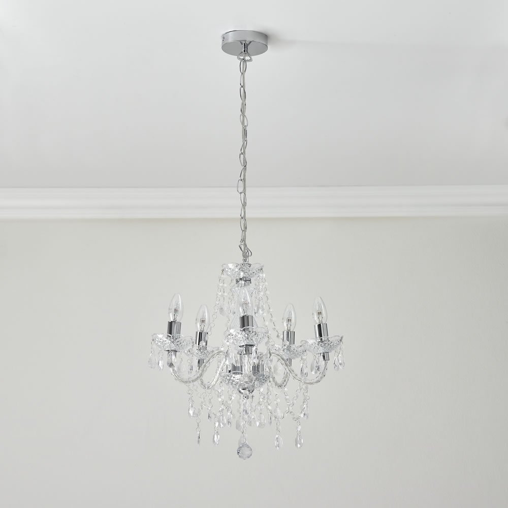 Emaria 4 Light Unique / Statement Chandeliers Pertaining To Trendy Wilko Marie Therese 5 Arm Clear Chandelier Ceiling Light (View 21 of 25)