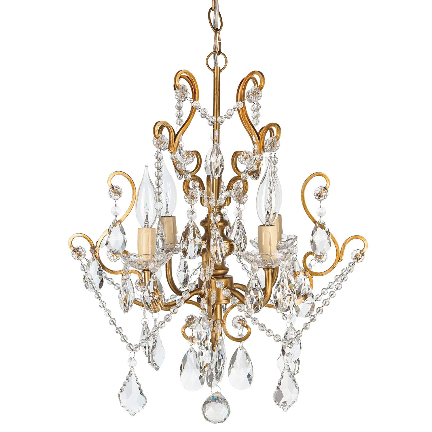 Emaria 4 Light Unique / Statement Chandeliers Within Well Liked Amalfi Decor 4 Light Led Crystal Beaded Chandelier, Mini Wrought Iron K9  Glass Pendant Light Fixture Vintage Nursery Kids Room Dimmable Plug In (View 20 of 25)