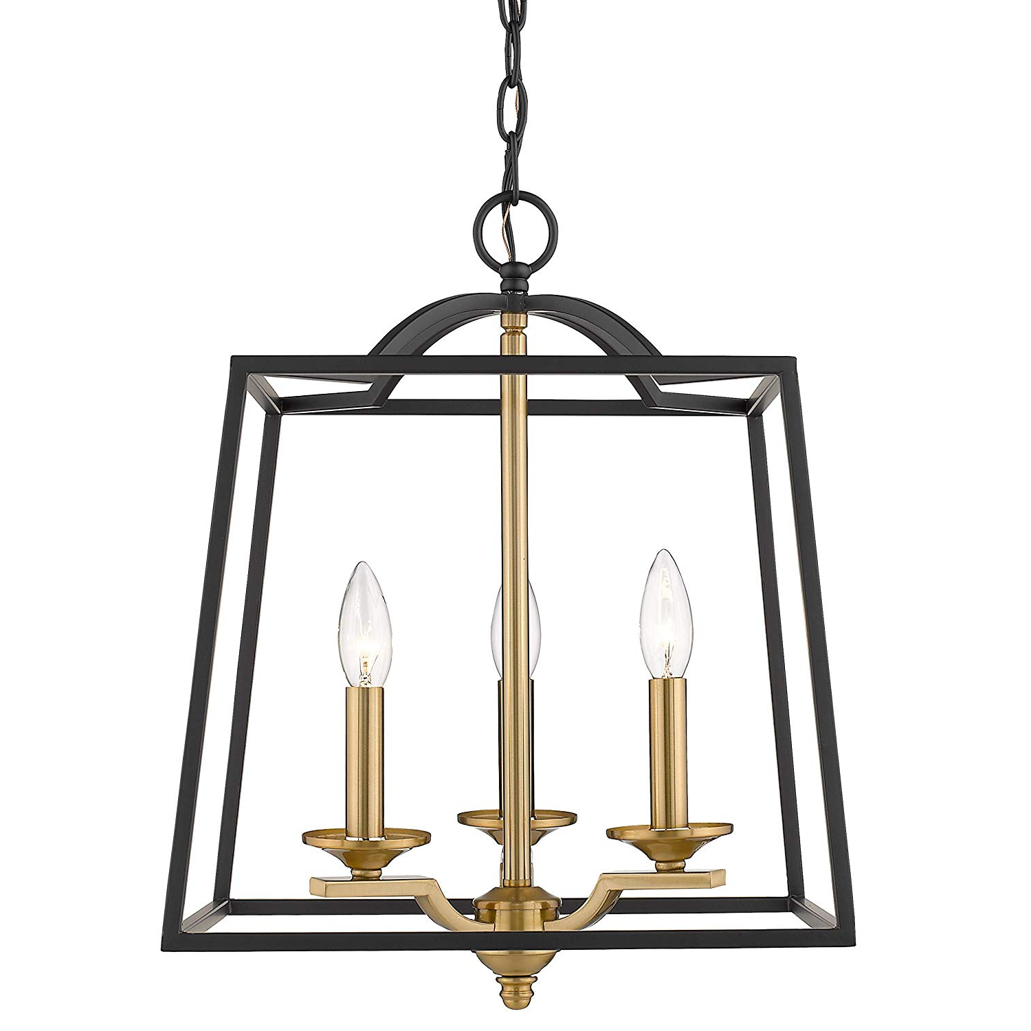 Emliviar 3 Light Foyer Chandelier, Pendant Light With Lantern Style Cage  Hanging Light Fixture For Hall Kitchen Island, Black And Gold Finish,  2086P 3 Within Popular Kenedy 9 Light Candle Style Chandeliers (Gallery 8 of 25)