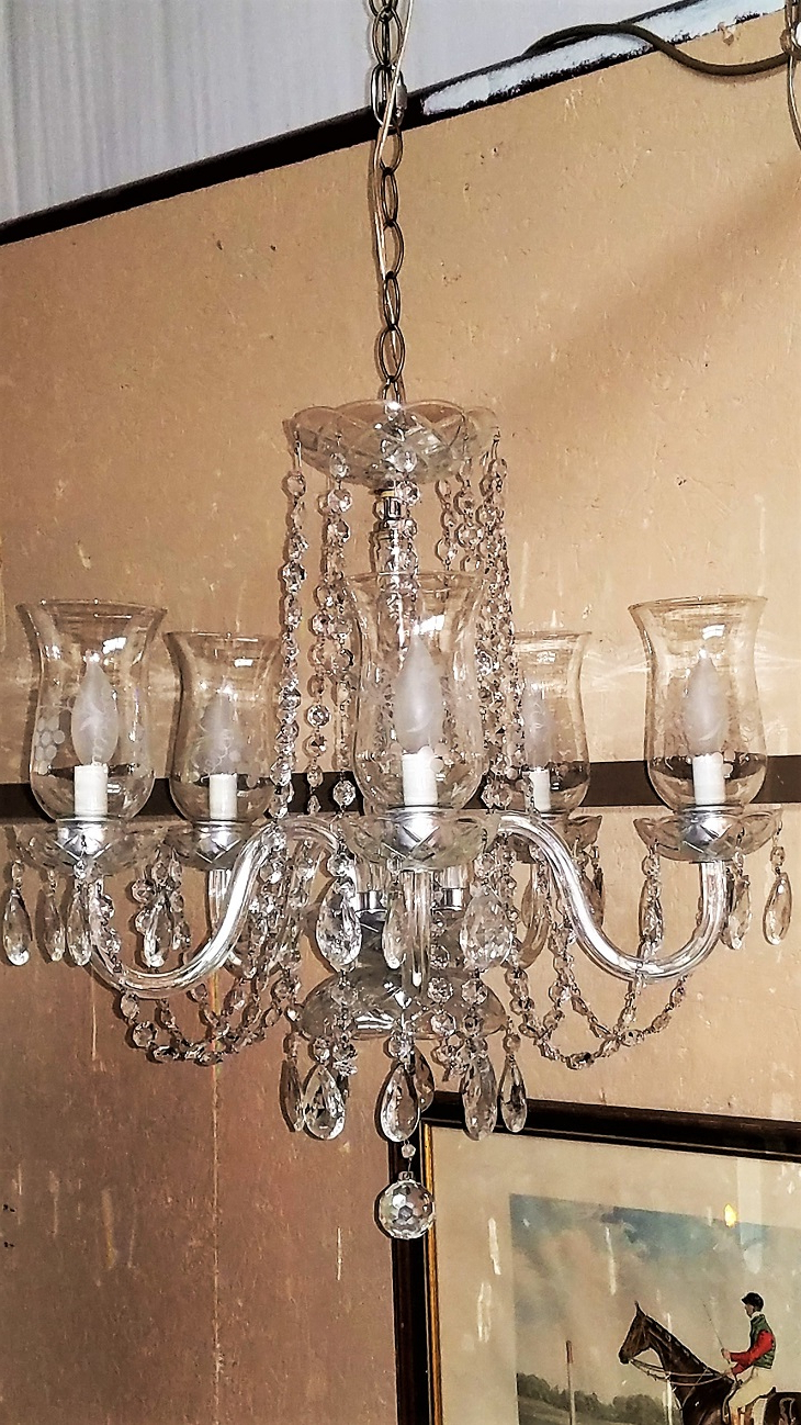 Etched Hurricane Shade Crystal 5 Arm Chandelier – Rockwell For Most Current Thresa 5 Light Shaded Chandeliers (Gallery 10 of 25)