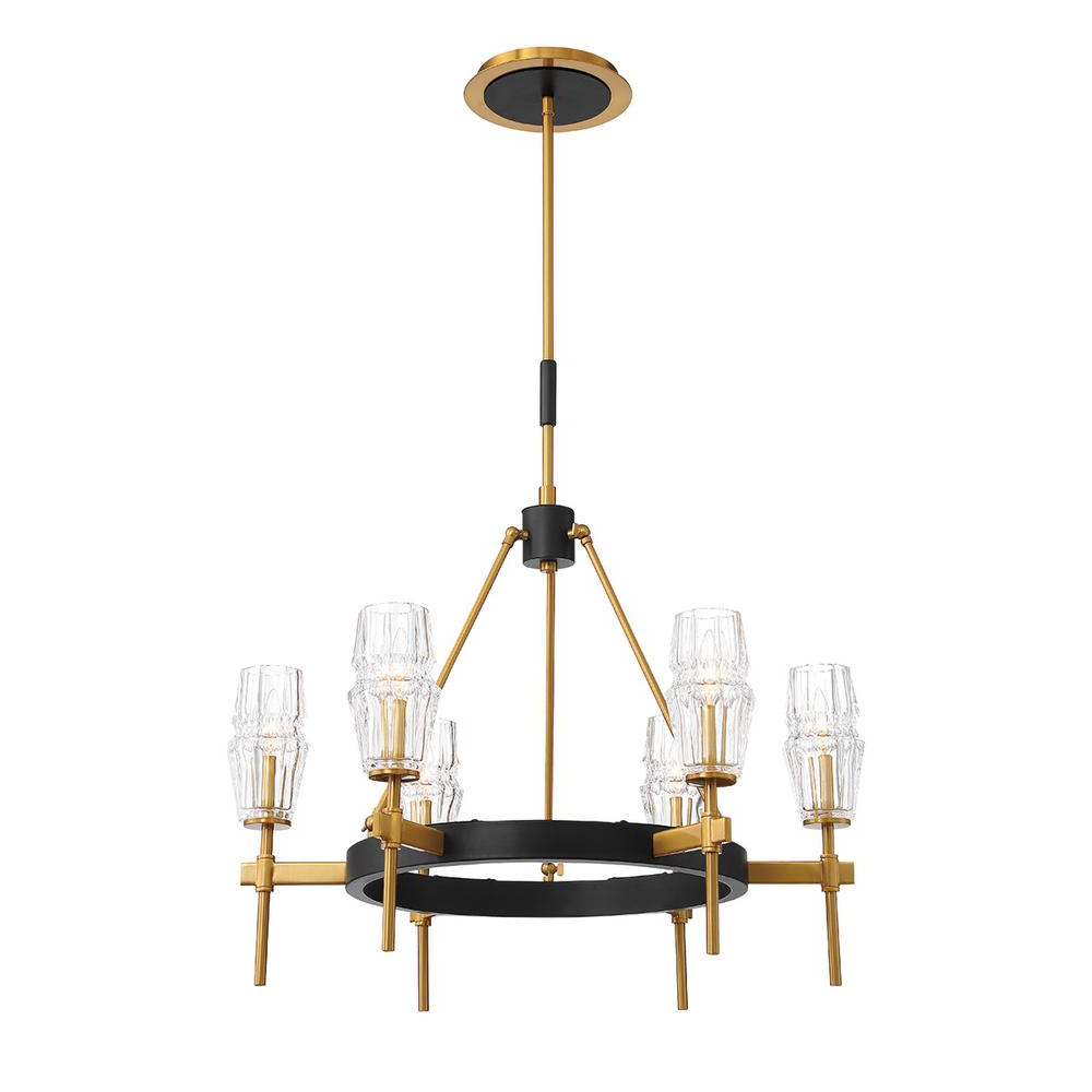 Eurofase Gladstone 6 Light Antique Brass/black Chandelier With Glass Shade In Preferred Millbrook 5 Light Shaded Chandeliers (Gallery 6 of 25)
