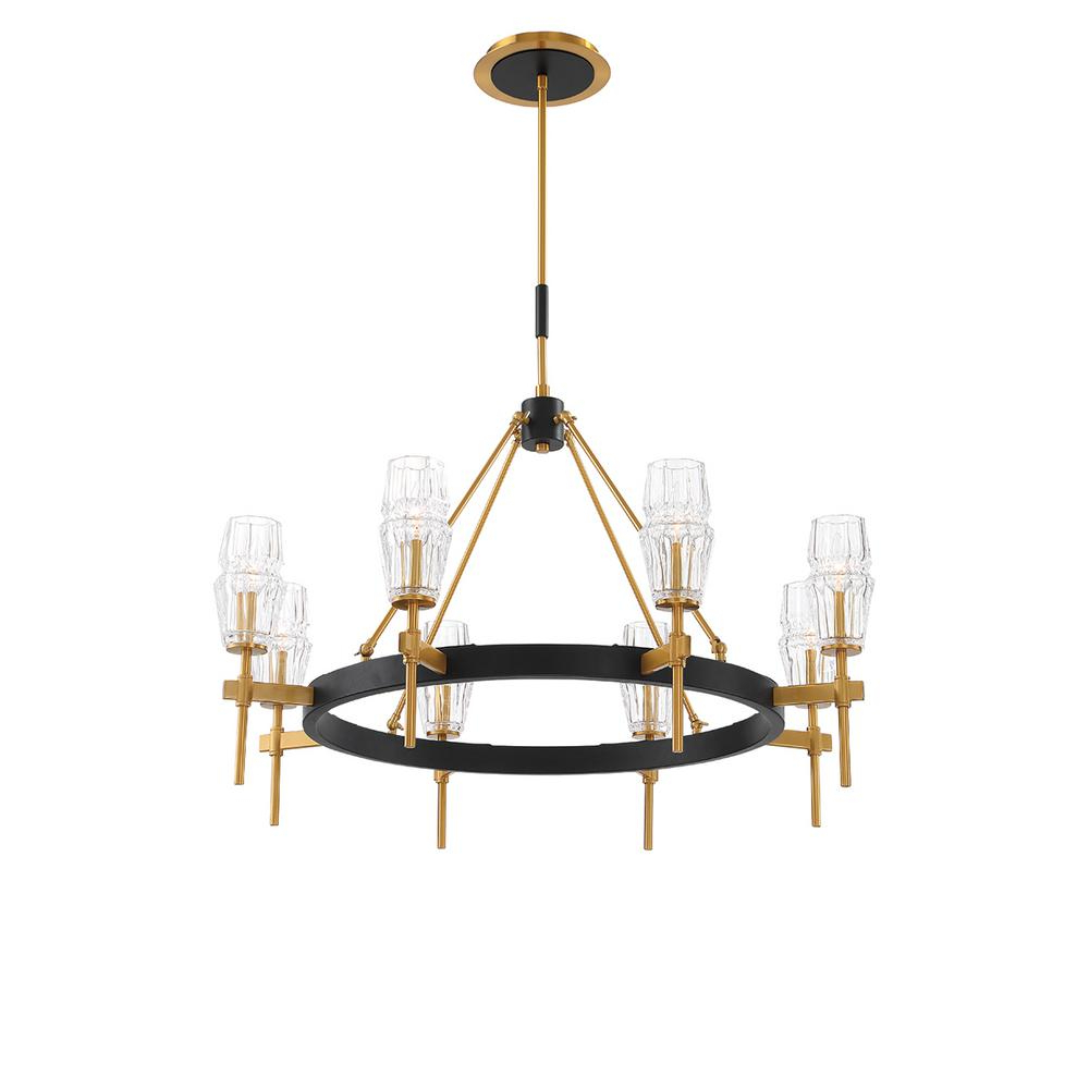 Eurofase Gladstone 8-Light Antique Brass/black Chandelier With Glass Shade with Popular Millbrook 5-Light Shaded Chandeliers