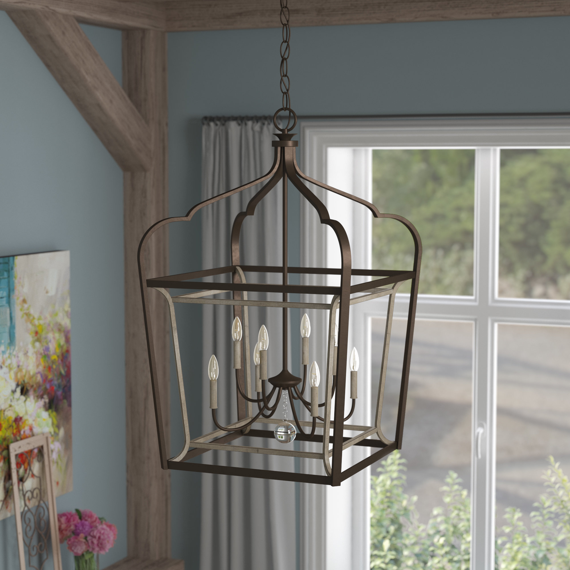 Evangeline 8-Light Lantern Geometric Pendant with Fashionable Carmen 8-Light Lantern Geometric Pendants