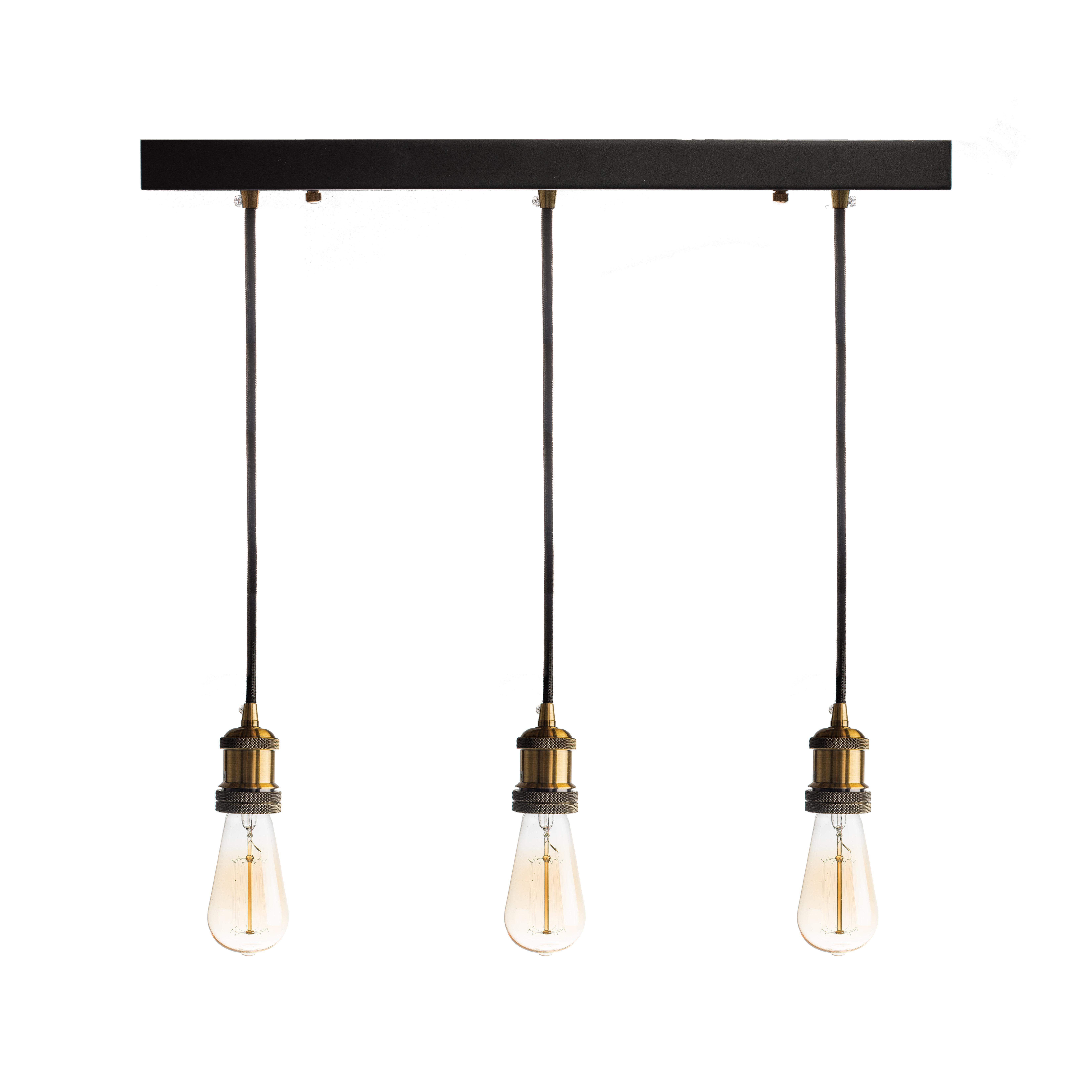 Fabian 3 Light Kitchen Island Bulb Pendant Throughout Fashionable Novogratz Vintage 5 Light Kitchen Island Bulb Pendants (View 4 of 25)