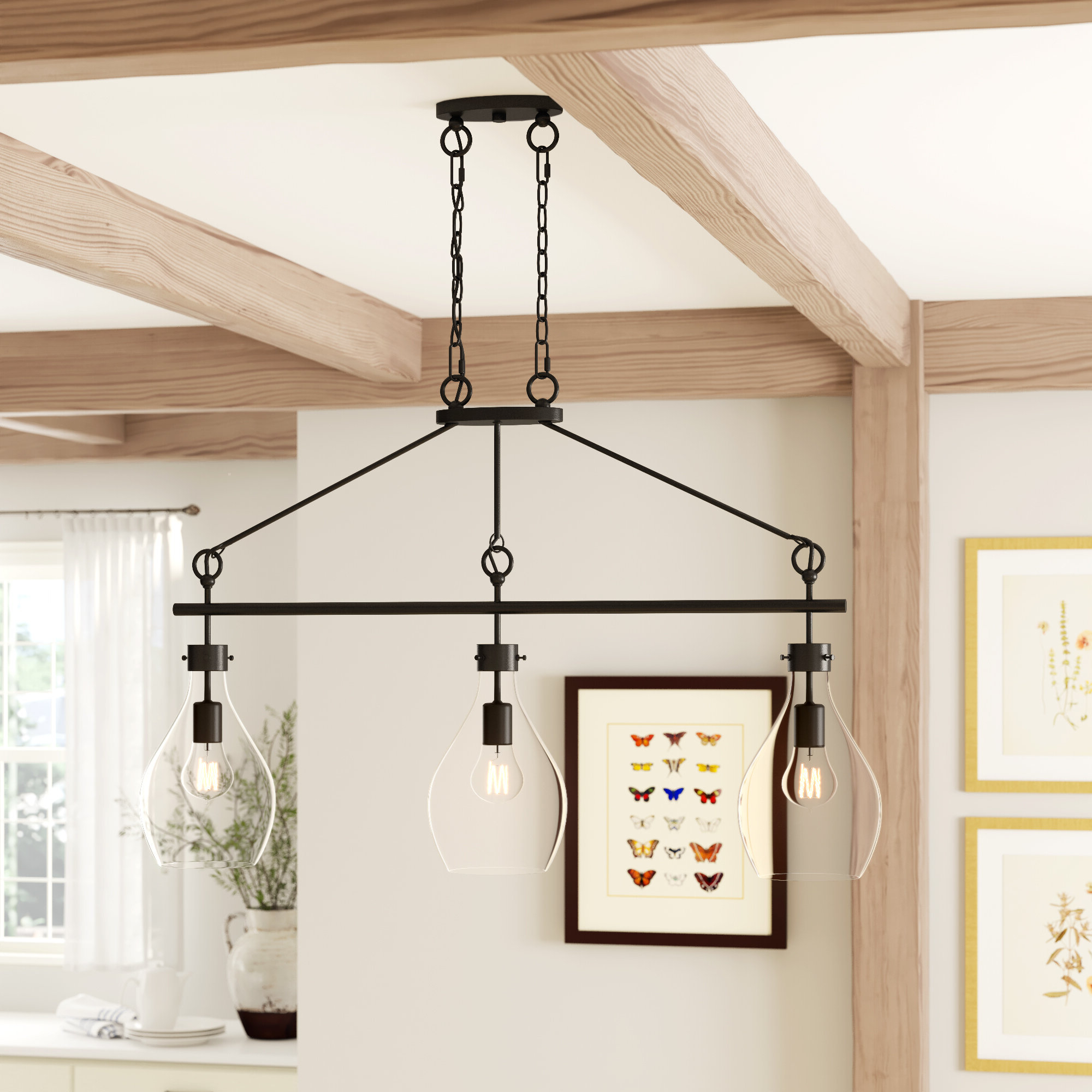 Famous Ariel 2 Light Kitchen Island Dome Pendants Inside Nan 3 Light Kitchen Island Teardrop Pendant (View 11 of 25)