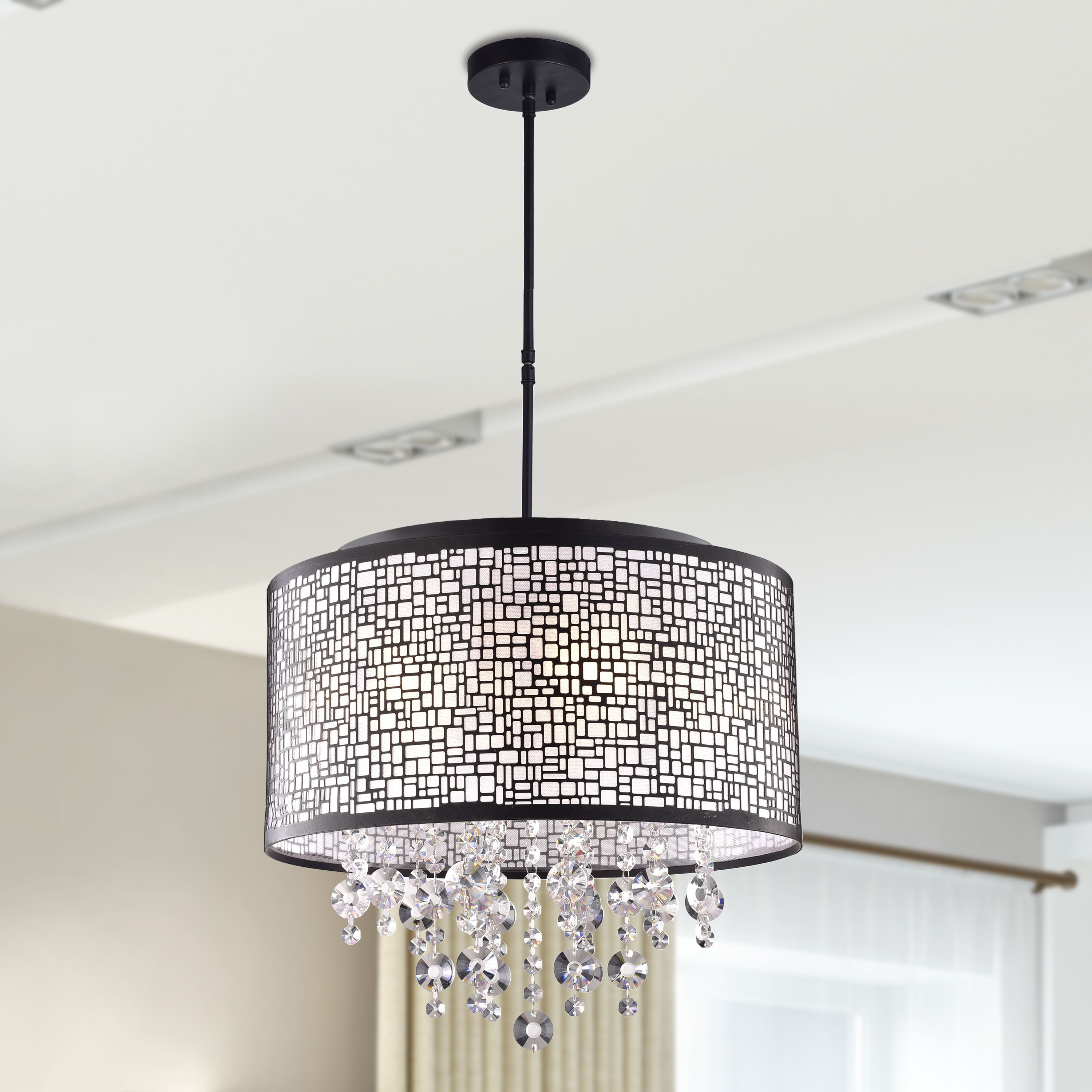 Famous Aurore 4 Light Crystal Chandeliers Within Anais 4 Light Black Metal And Crystal Drum Chandelier In (View 11 of 25)