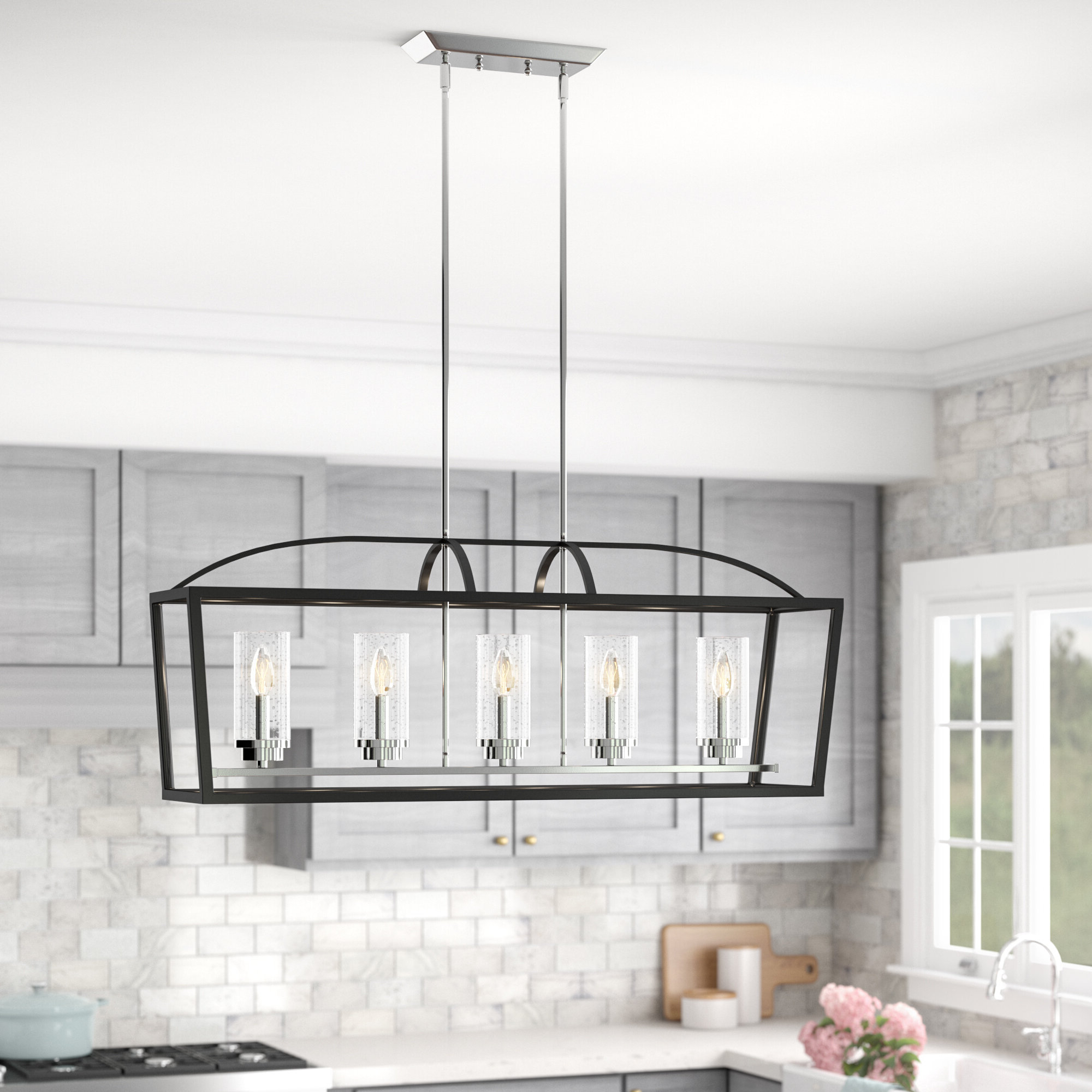 Famous Cinchring 4 Light Kitchen Island Linear Pendants Within Luna 5 Light Kitchen Island Linear Pendant (View 25 of 25)