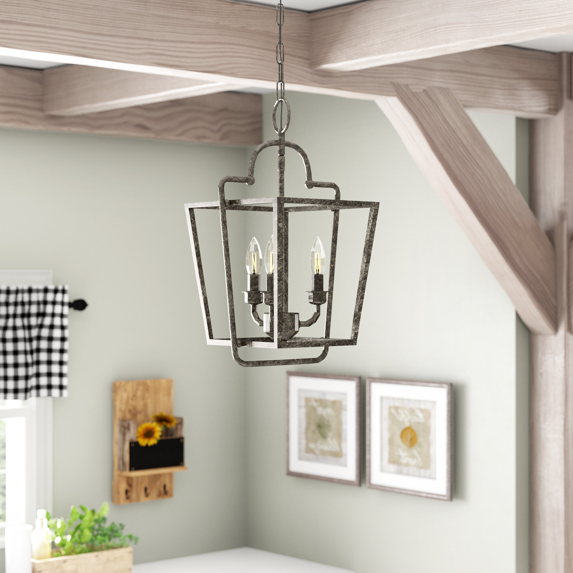 Famous Gabriella 3 Light Lantern Chandeliers Throughout Seraphina 3 Light Lantern Geometric Pendant (View 6 of 25)