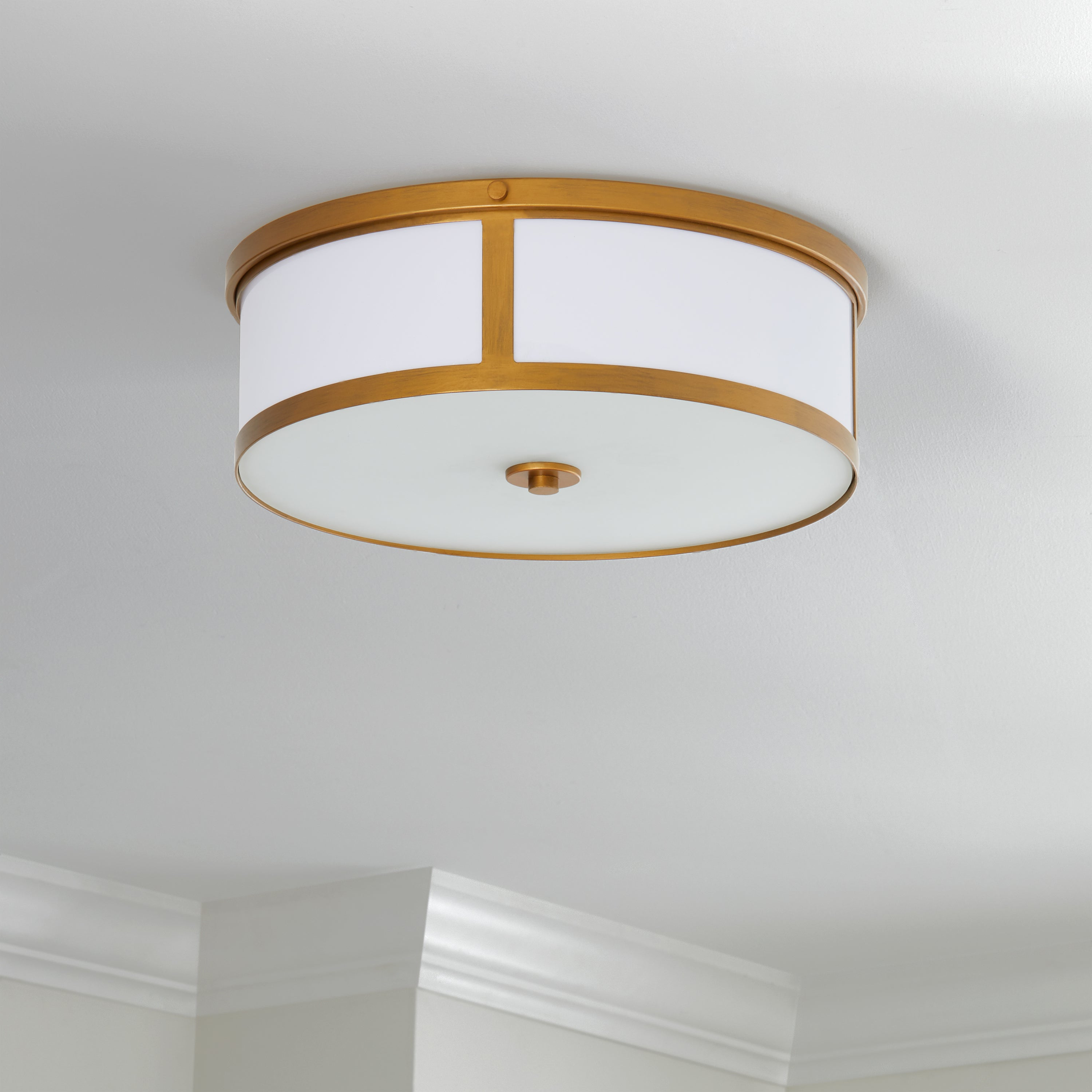"Famous Lindsey 4 Light Drum Chandeliers Regarding Safavieh Lighting 6 Inch 2 Light Avery Gold Ceiling Drum Light – 17"" X 17""  X 6"" (View 25 of 25)"