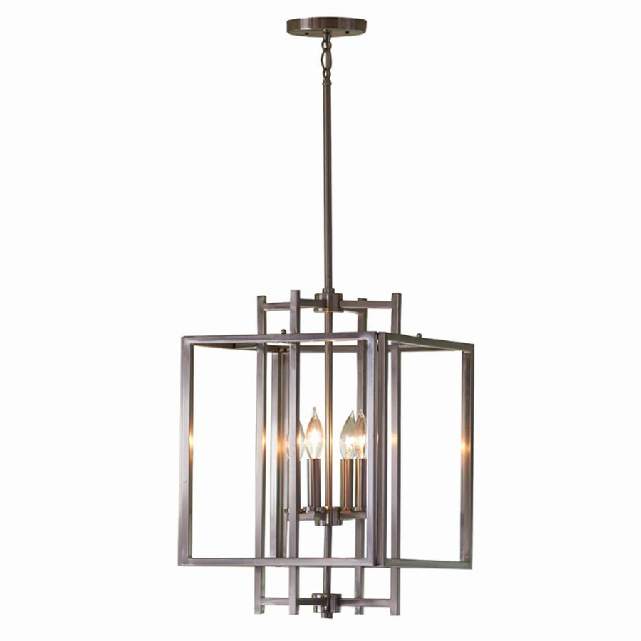 Famous Shop Allen + Roth 14 In W Brushed Nickel Pendant Light With Regarding Hewitt 4 Light Square Chandeliers (View 9 of 25)