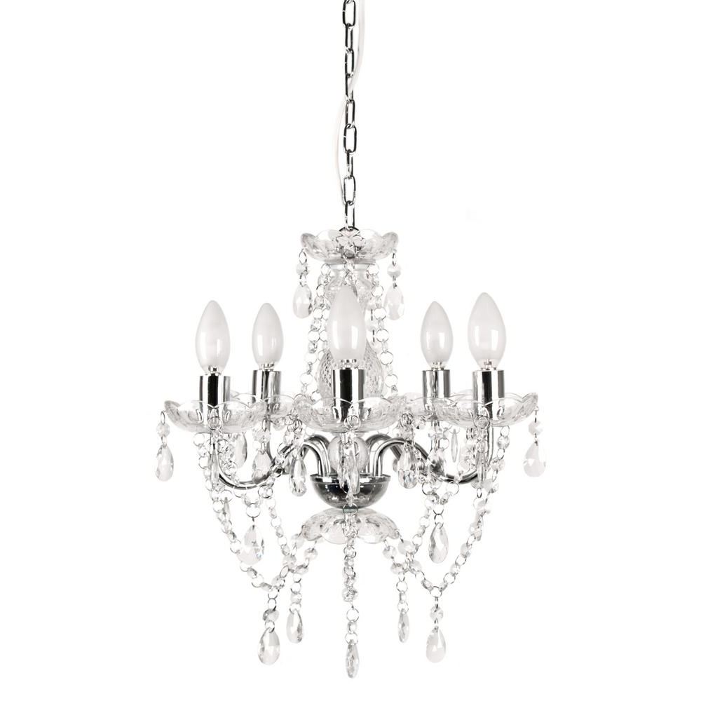 Famous Tadpoles 5 Light Chrome And White Crystal Chandelier With Regard To Thresa 5 Light Shaded Chandeliers (View 24 of 25)