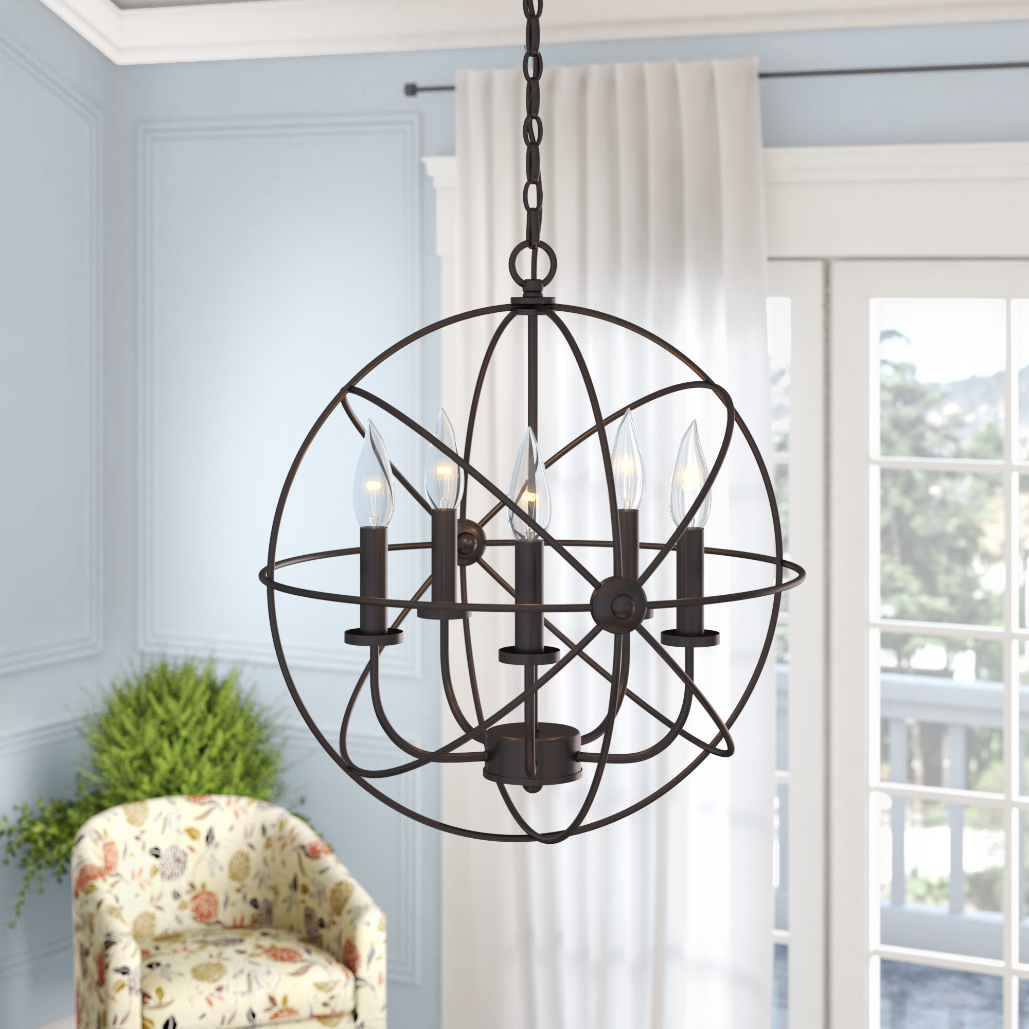 Famous Verlene Foyer 5 Light Globe Chandeliers Within Caius 5 Light Globe Chandelier (View 10 of 25)