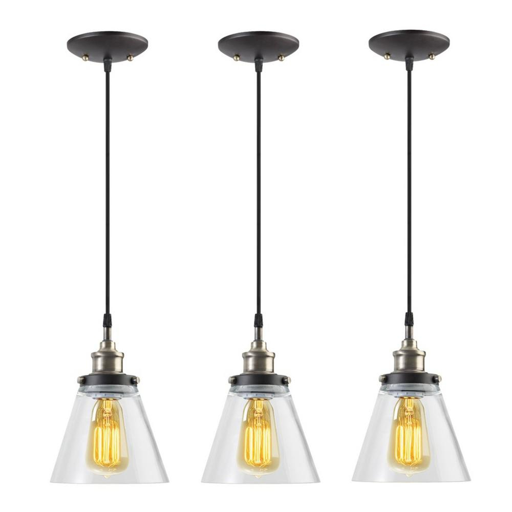 Famous Vintage Edison 1 Light Bowl Pendants With Globe Electric Jackson 1 Light Vintage Edison Antique Brass Bronze And  Black Hanging Pendant (3 Pack) (View 6 of 25)
