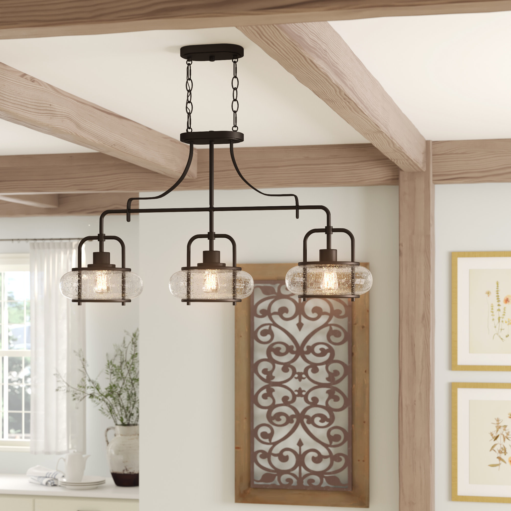 Farmhouse & Rustic Damp Location Kitchen Island Pendants In Most Popular Smithville 4 Light Kitchen Island Pendants (View 9 of 25)
