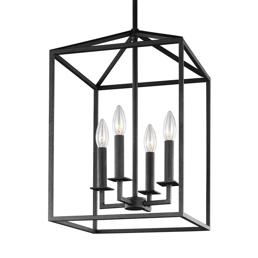 Fashionable 4 Light Lantern Square / Rectangle Pendants Pertaining To Sea Gull Lighting Perryton 15.5 In. W (View 10 of 25)