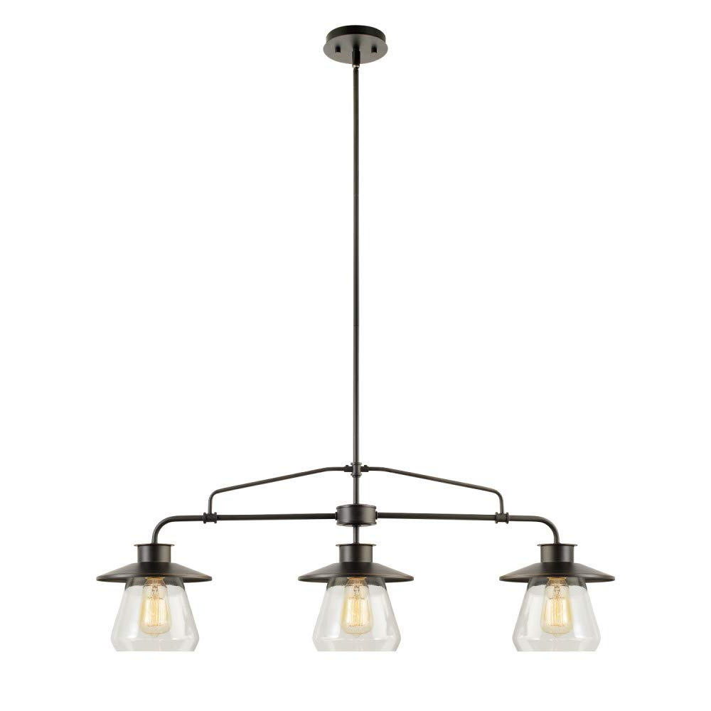Fashionable Cinchring 1 Light Cone Pendants Regarding Globe Electric 64845 Nate 3 Light Pendant, Oil Rubbed Bronze, Clear Glass  Shades (View 12 of 25)